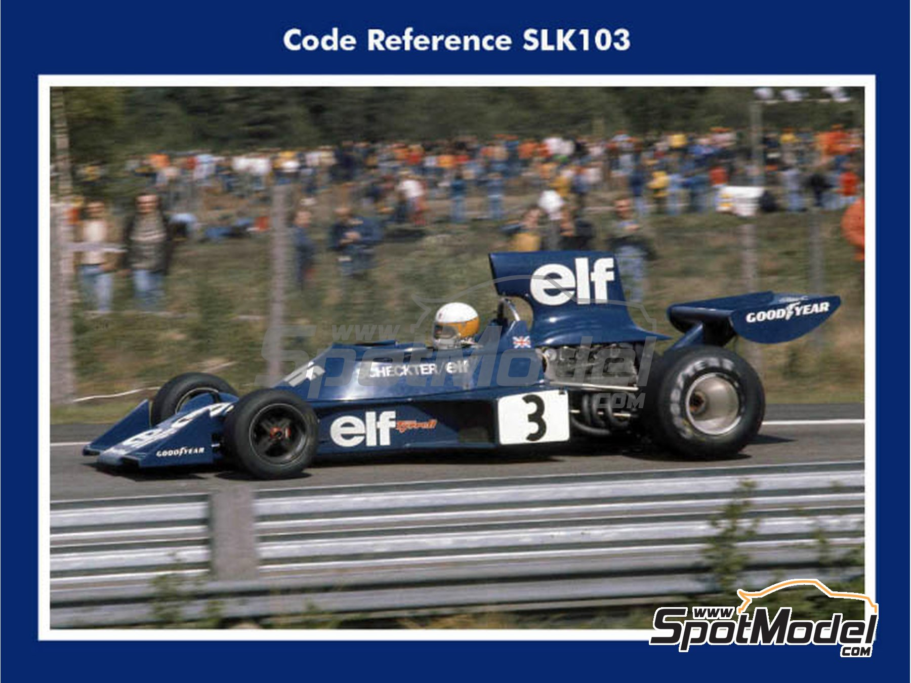 Image 1: Tyrrell Ford 007 - Swedish Grand Prix 1974 | Model car kit in 1/43 scale manufactured by Tameo Kits (ref. SLK103)