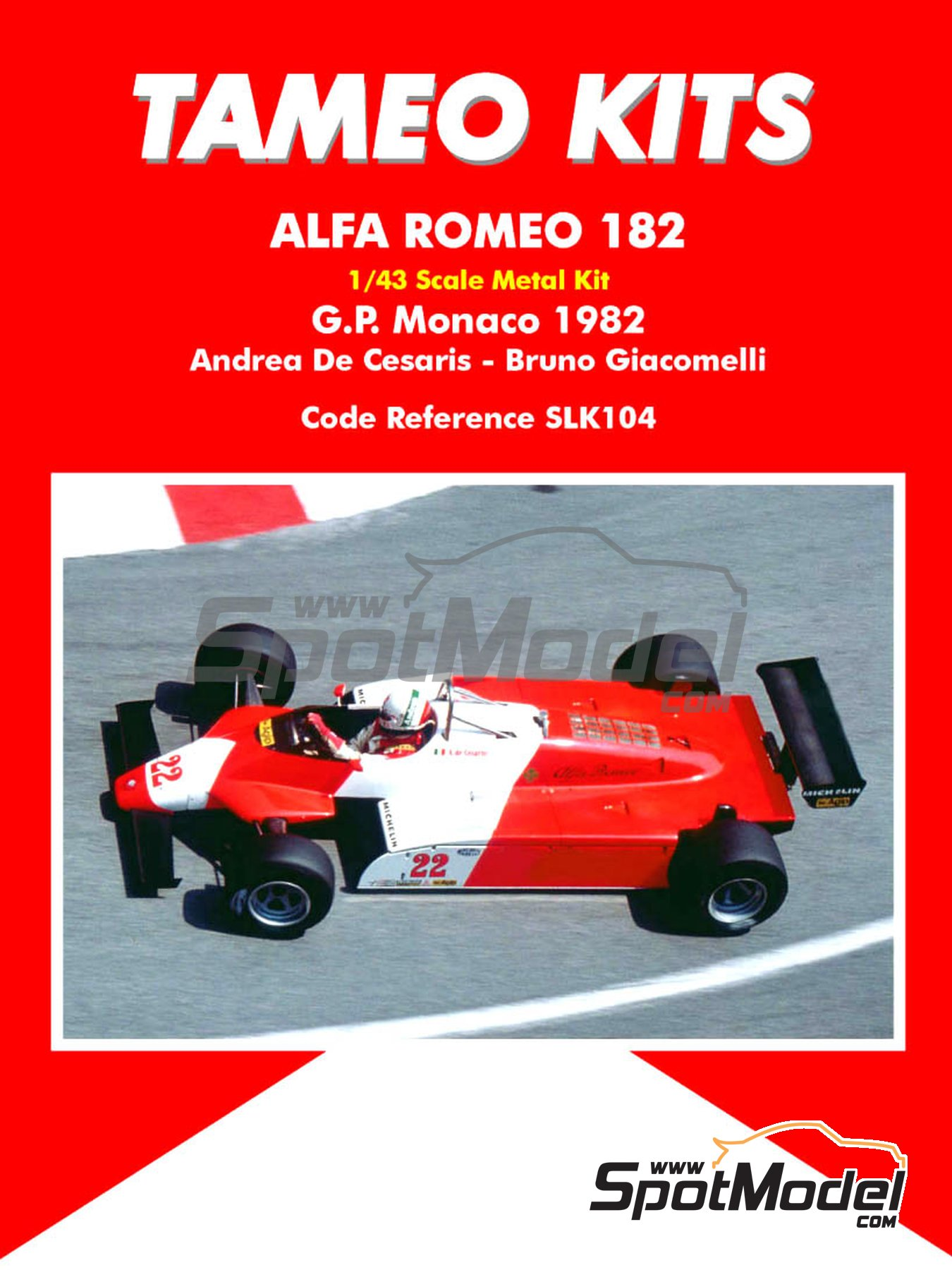 Alfa Romeo 182 Michelin - Monaco Grand Prix 1982 | Model car kit in 1/43 scale manufactured by Tameo Kits (ref. SLK104) image