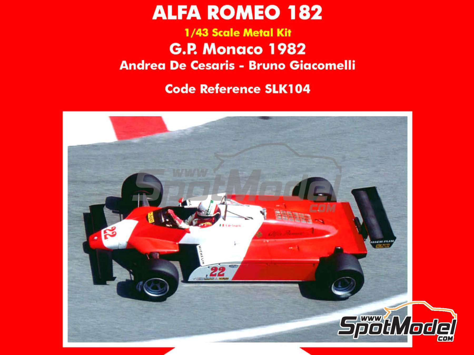 Image 1: Alfa Romeo 182 Michelin - Monaco Grand Prix 1982 | Model car kit in 1/43 scale manufactured by Tameo Kits (ref. SLK104)