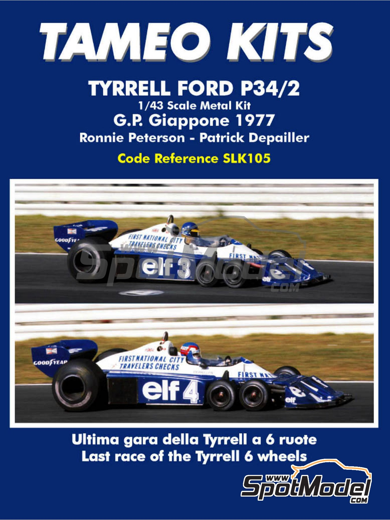 Tyrrell Ford P34/2 ELF - Japan Grand Prix 1977 | Model car kit in 1/43 scale manufactured by Tameo Kits (ref. SLK105) image