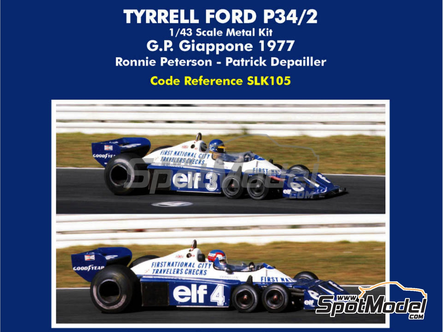 Image 1: Tyrrell Ford P34/2 ELF - Japan Grand Prix 1977 | Model car kit in 1/43 scale manufactured by Tameo Kits (ref. SLK105)