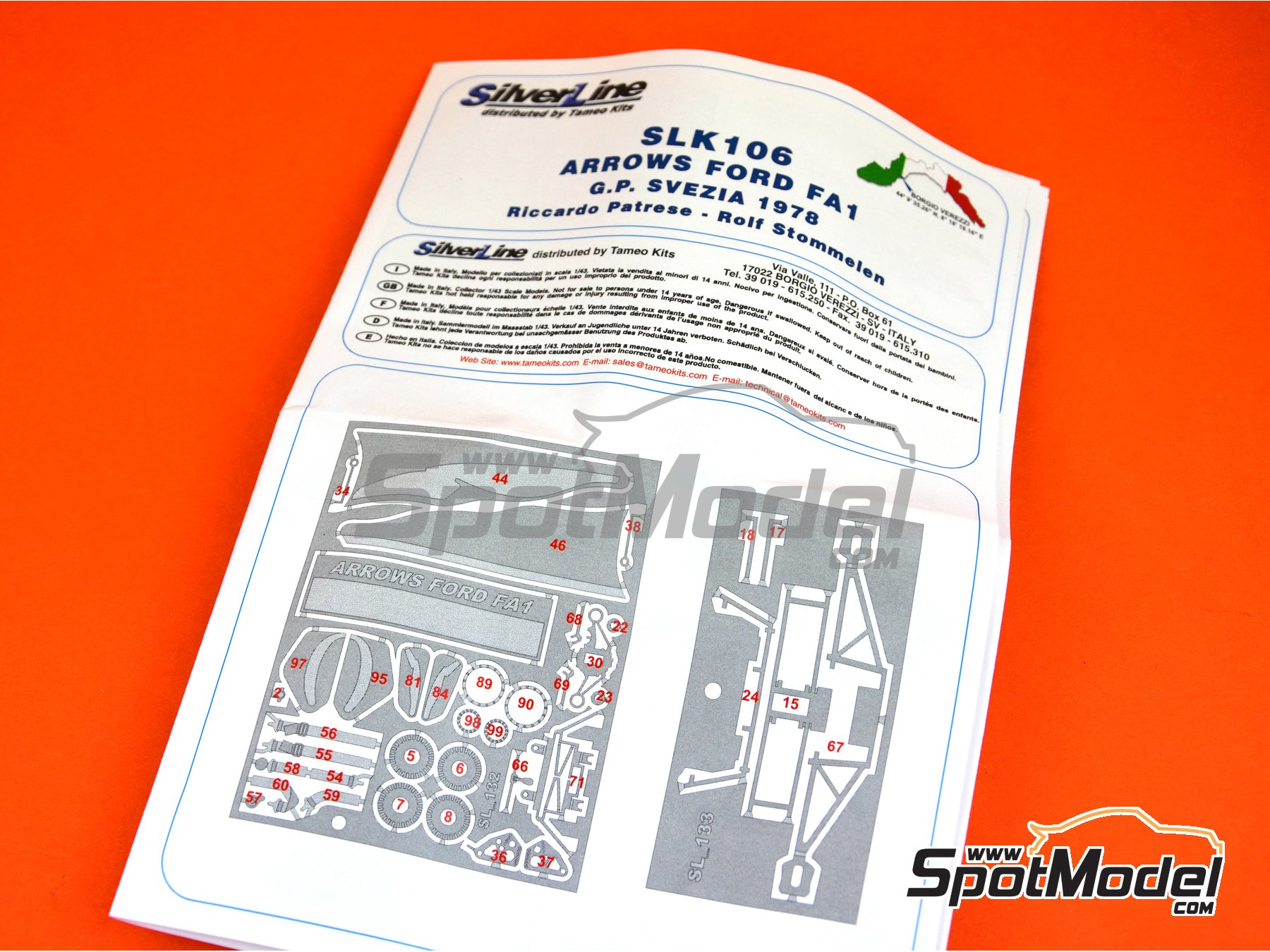 Image 4: Arrows Ford FA1 - Swedish Grand Prix 1978 | Model car kit in 1/43 scale manufactured by Tameo Kits (ref. SLK106)