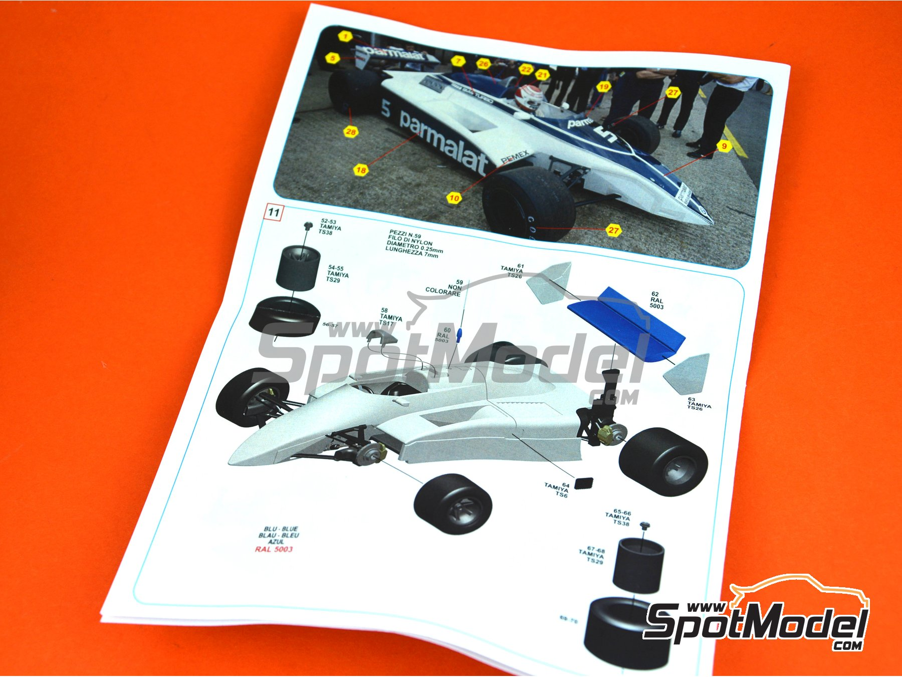 Image 9: Brabham BMW BT50 Parmalat - British Formula 1 Grand Prix 1981 | Model car kit in 1/43 scale manufactured by Tameo Kits (ref. SLK108)