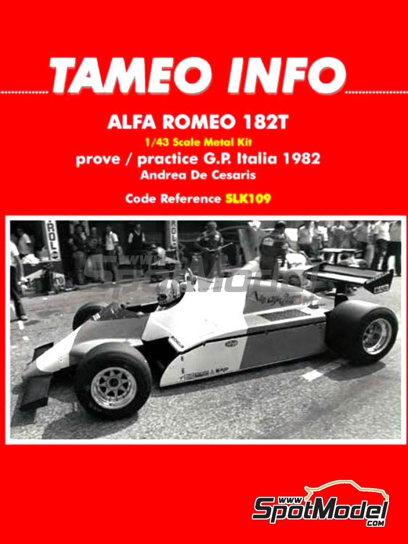 Alfa Romeo 182T - Italian Formula 1 Grand Prix 1982 | Model car kit in 1/43 scale manufactured by Tameo Kits (ref.SLK109) image