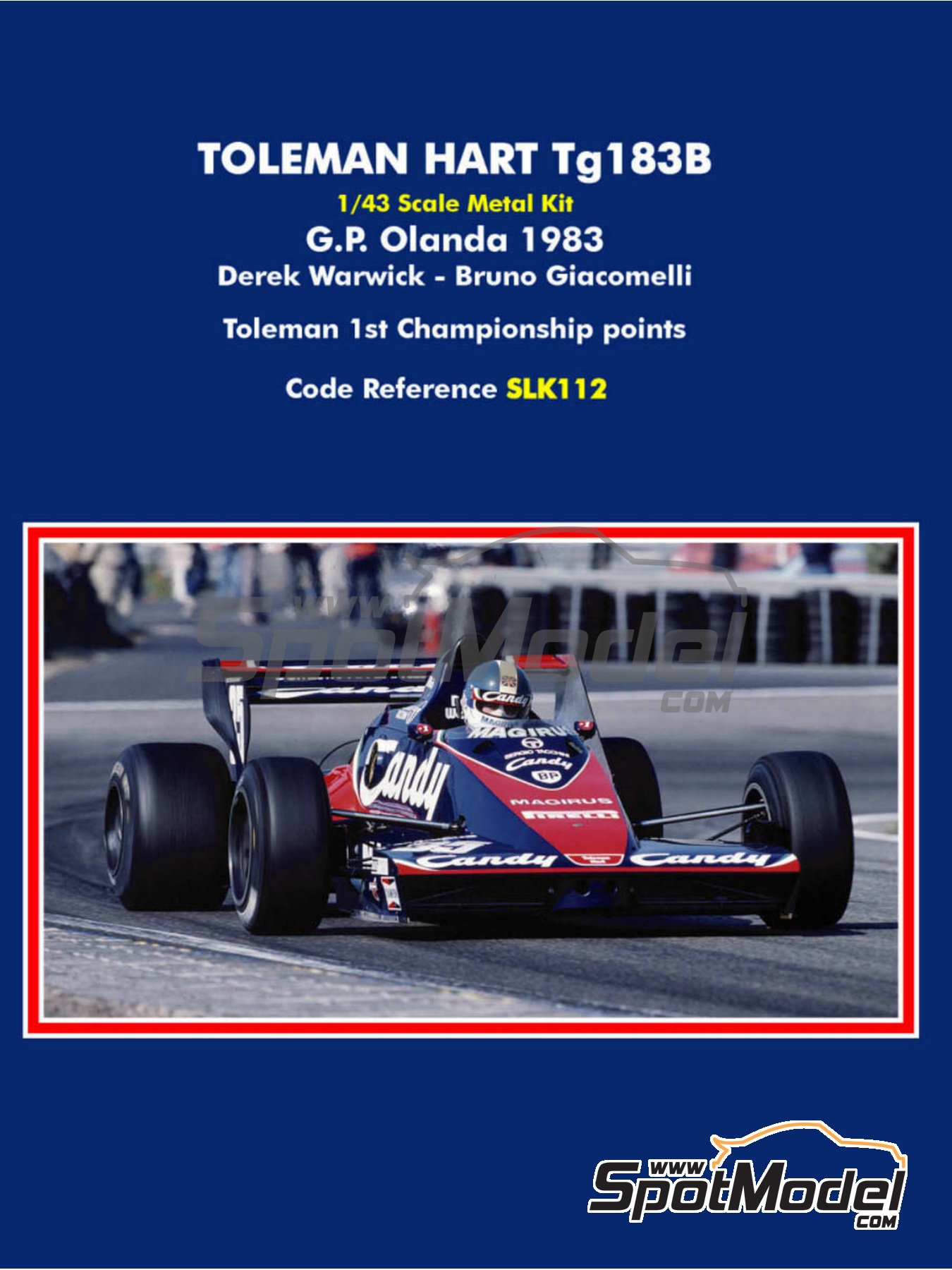 Toleman Hart TG183B Candy Magirus - Dutch Grand Prix 1983 | Model car kit in 1/43 scale manufactured by Tameo Kits (ref. SLK112) image