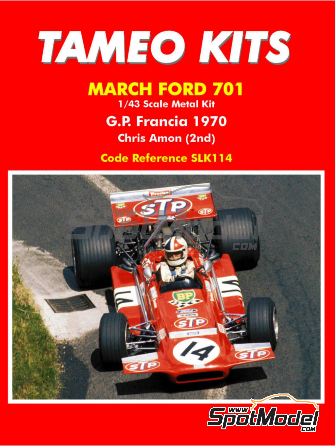 March Ford 701 STP - French Formula 1 Grand Prix 1970 | Model car kit in 1/43 scale manufactured by Tameo Kits (ref. SLK114) image