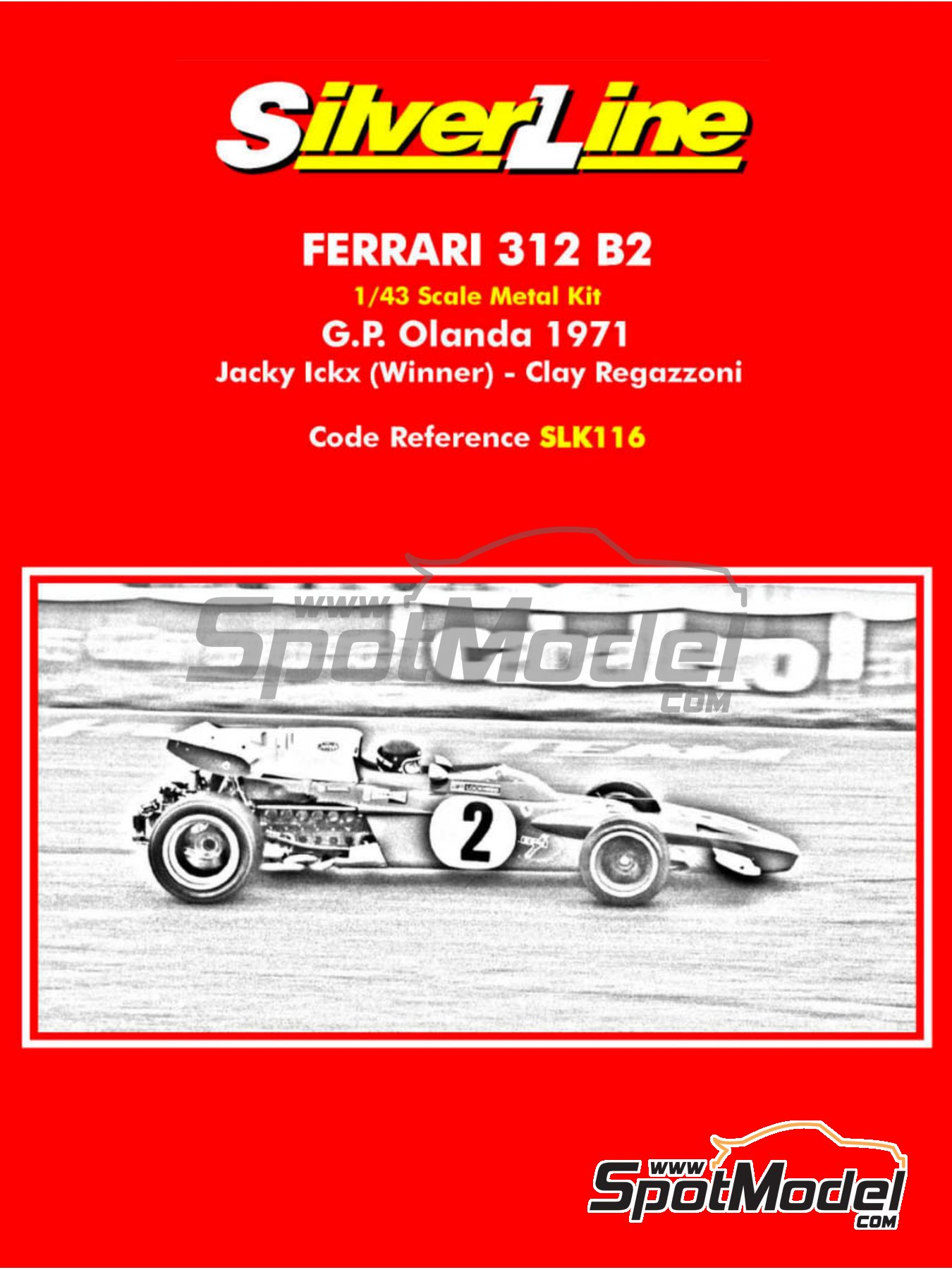 Ferrari 312B2 - Dutch Formula 1 Grand Prix 1971 | Model car kit in 1/43 scale manufactured by Tameo Kits (ref. SLK116) image