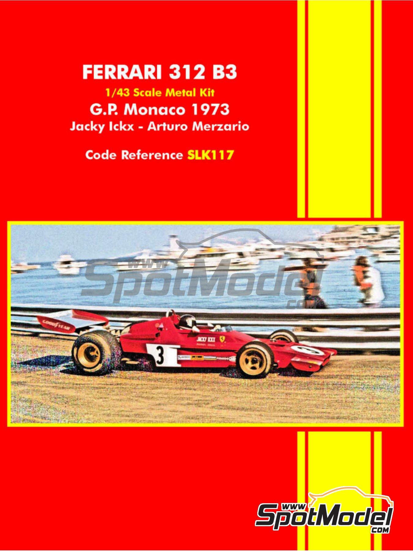 Ferrari 312 B3 - Monaco Formula 1 Grand Prix 1973 | Model car kit in 1/43 scale manufactured by Tameo Kits (ref.SLK117) image