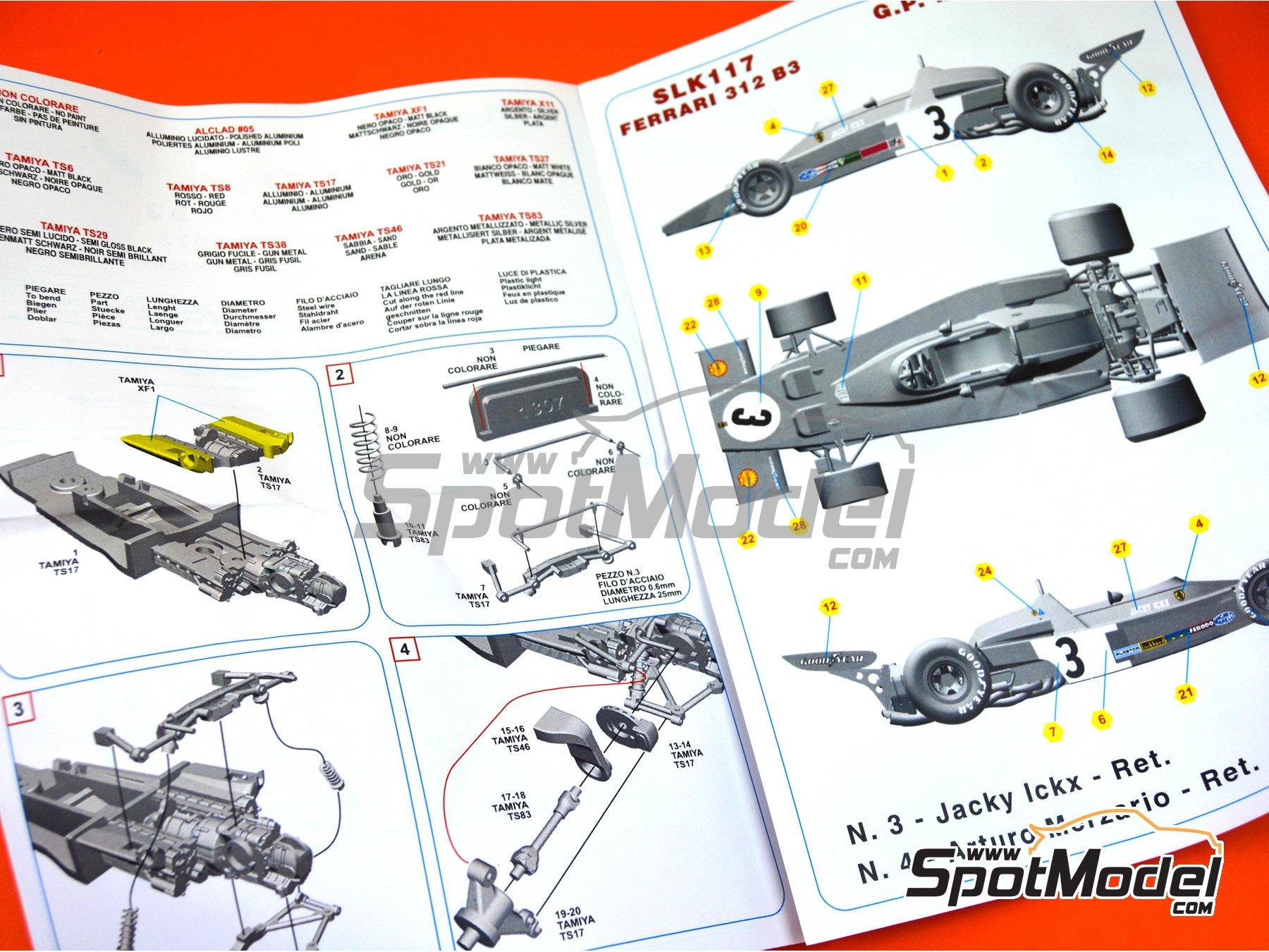 Image 8: Ferrari 312B3 Shell - Monaco Formula 1 Grand Prix 1973 | Model car kit in 1/43 scale manufactured by Tameo Kits (ref.SLK117)