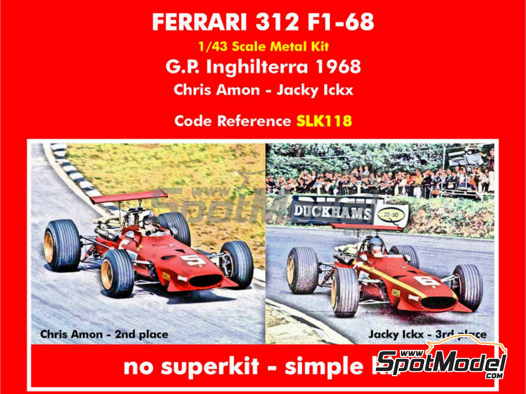 Image 1: Ferrari 312 F1 - British Grand Prix 1968 | Model car kit in 1/43 scale manufactured by Tameo Kits (ref. SLK118)