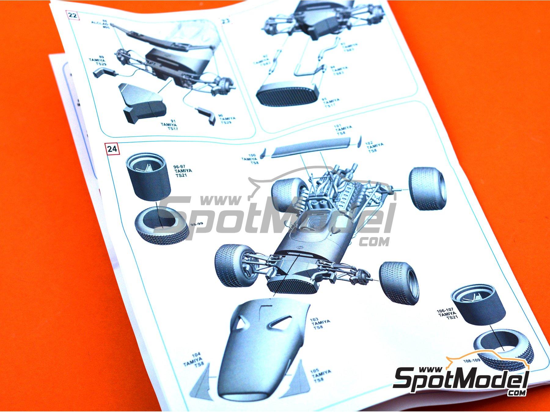 Image 12: Ferrari 312 F1 - British Grand Prix 1968 | Model car kit in 1/43 scale manufactured by Tameo Kits (ref.SLK118)