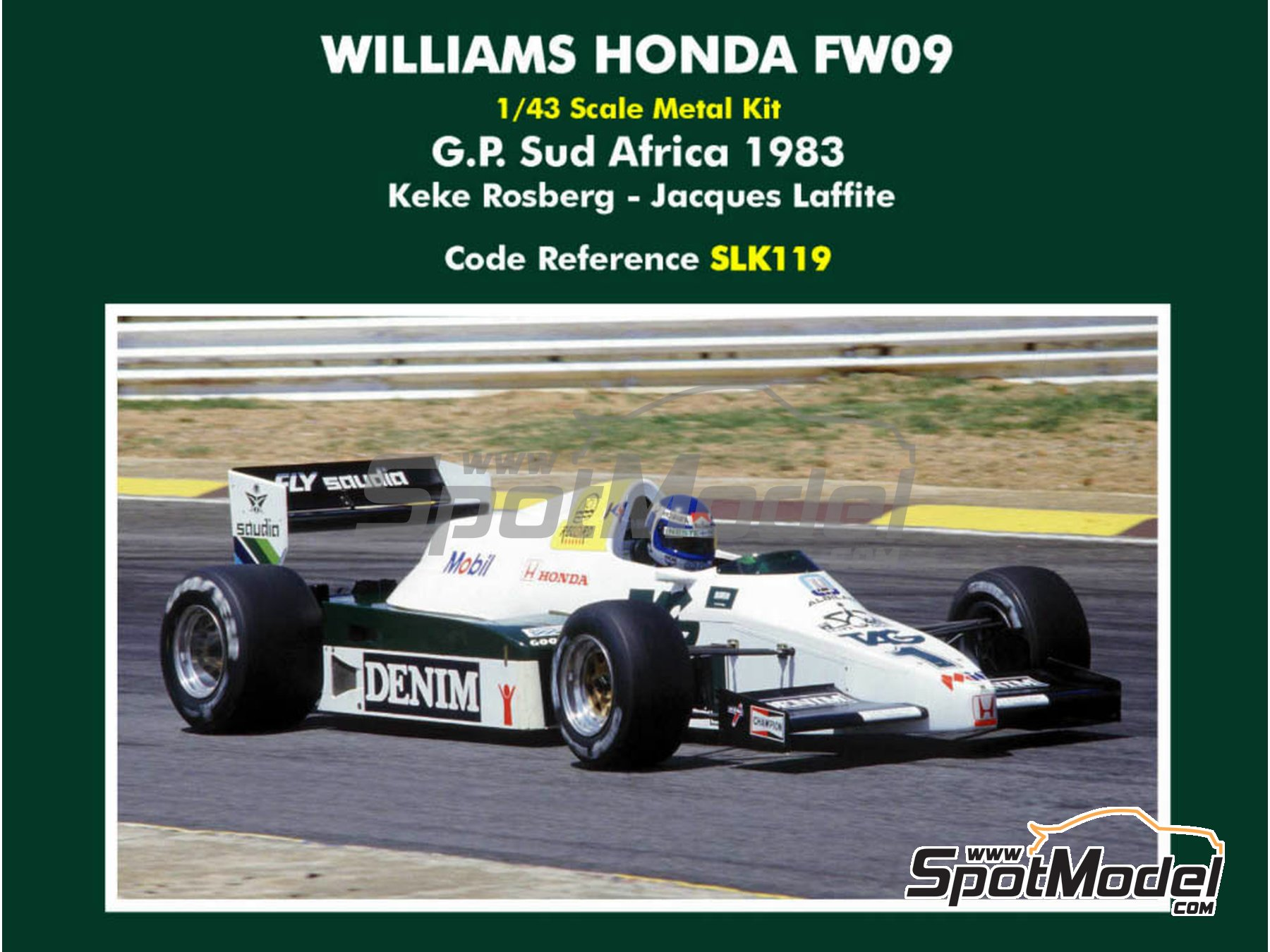 Image 1: Williams Honda FW09 TAG Denim - South African Formula 1 Grand Prix 1983 | Model car kit in 1/43 scale manufactured by Tameo Kits (ref. SLK119)