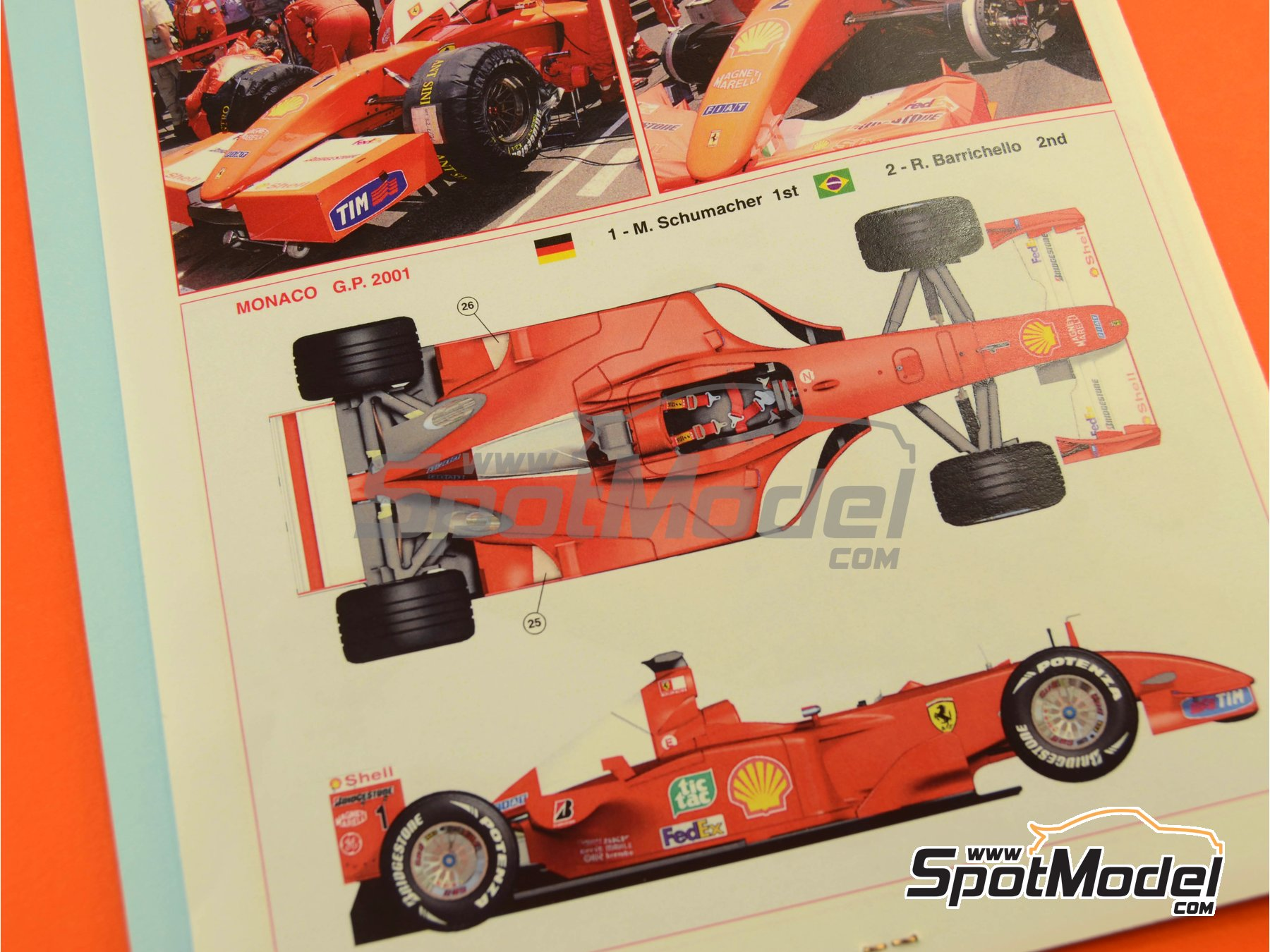 Image 1: Ferrari F2001 Marlboro - Monaco Formula 1 Grand Prix 2001 | Model car kit in 1/24 scale manufactured by Tameo Kits (ref. TLK003)
