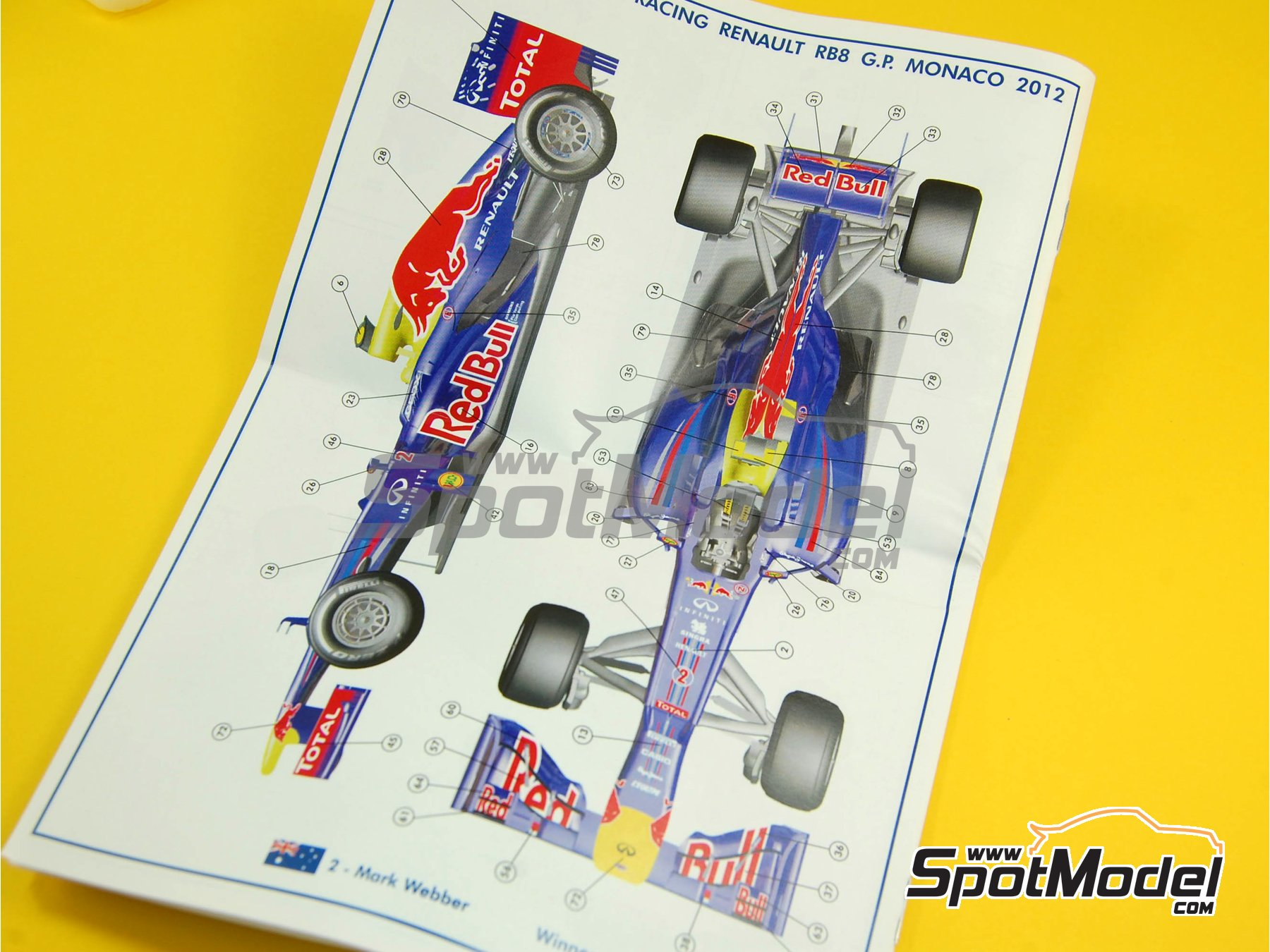 Image 3: RB Racing Renault RB8 - Gran Premio de Formula 1 de Mónaco 2012   Maqueta de coche en escala1/43 fabricado por Tameo Kits (ref.TMK408)