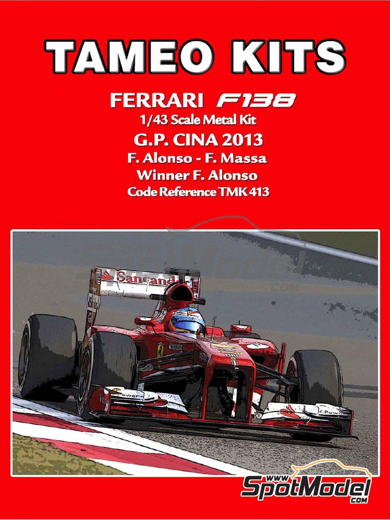 Ferrari F138 F2013 Banco Santander - Gran Premio de Fórmula 1 de China 2013   Maqueta de coche en escala1/43 fabricado por Tameo Kits (ref.TMK413) image