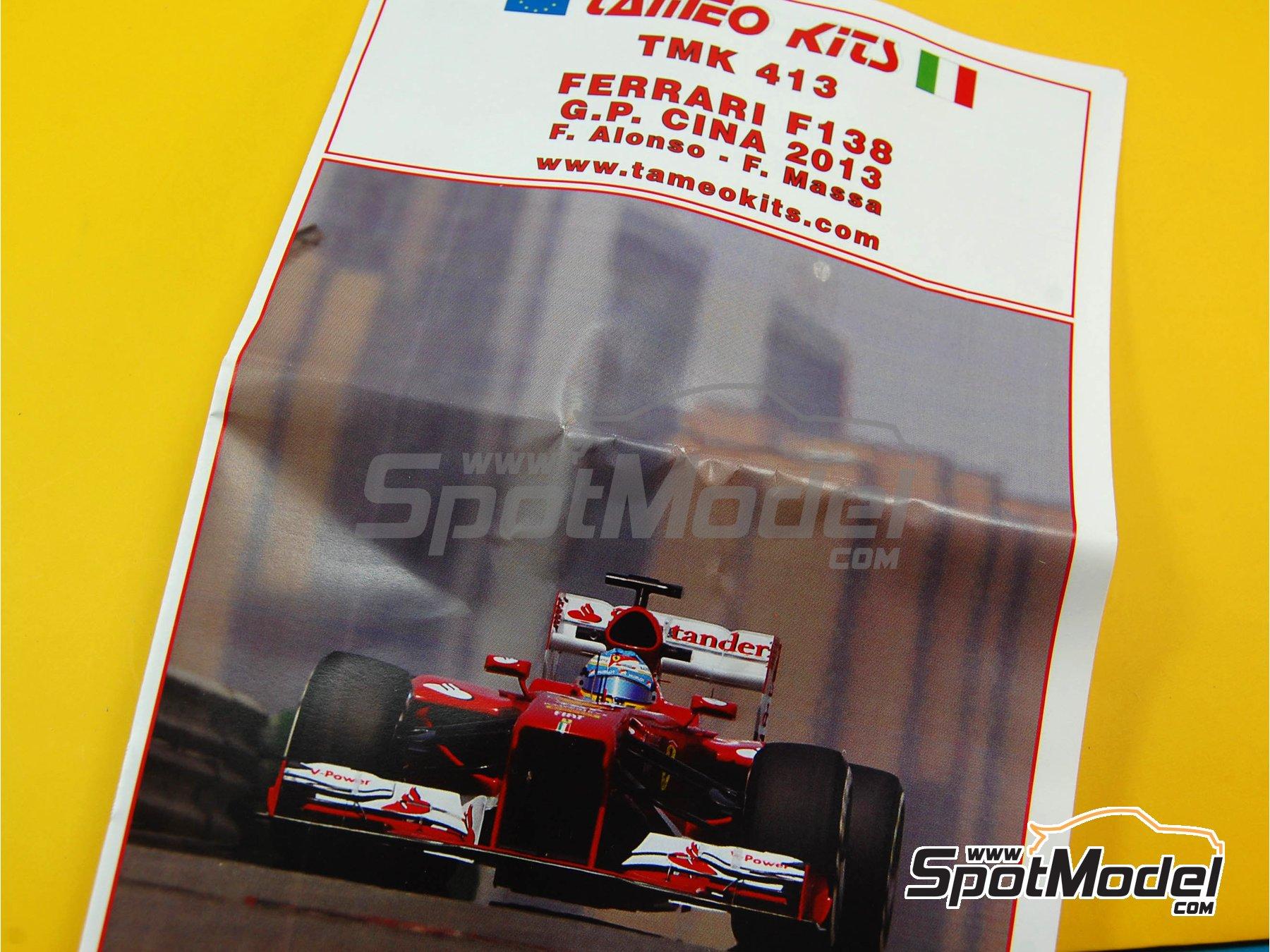 Image 2: Ferrari F138 F2013 Banco Santander - Gran Premio de Fórmula 1 de China 2013   Maqueta de coche en escala1/43 fabricado por Tameo Kits (ref.TMK413)