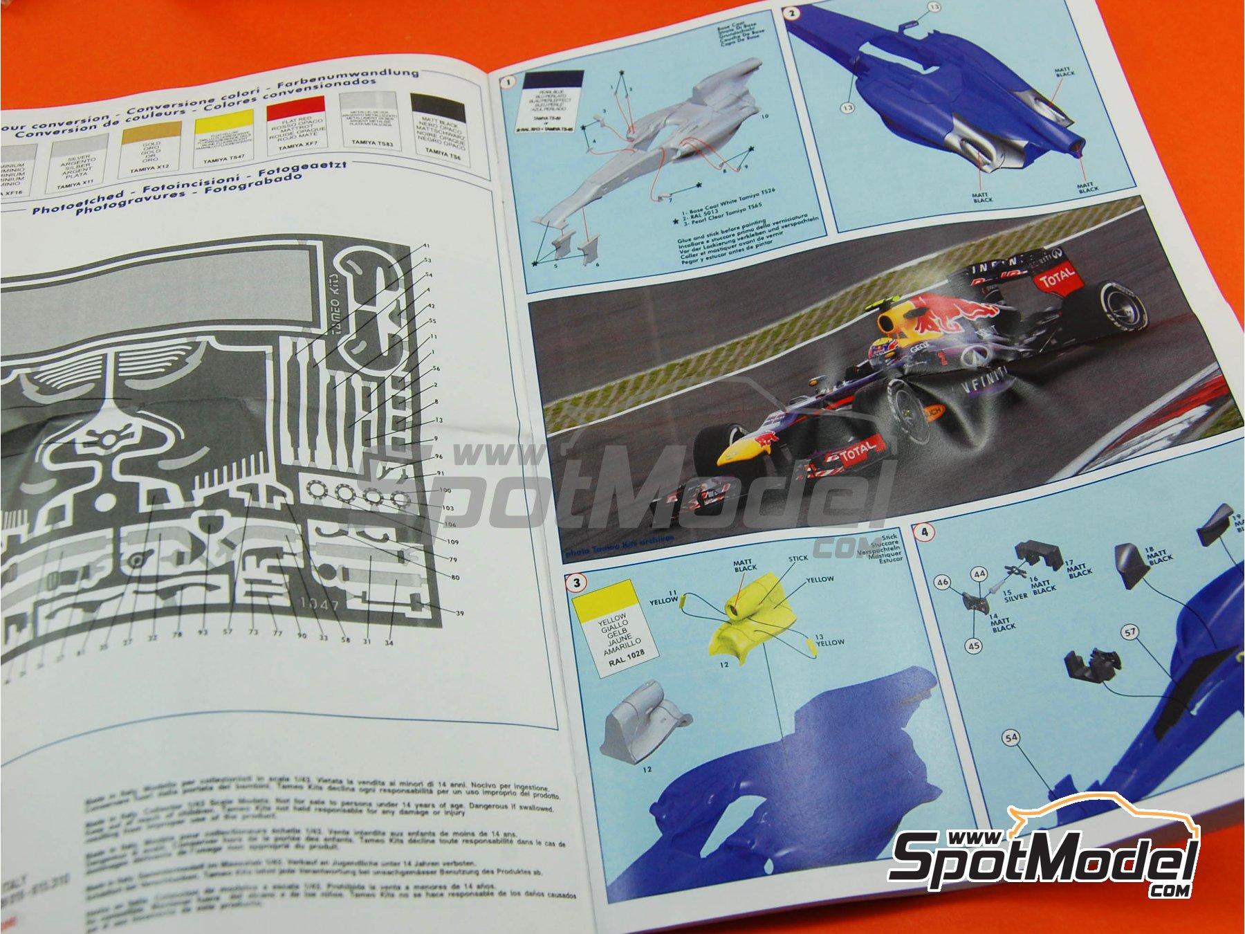 Image 9: RB Racing Renault RB9 Infiniti - German Formula 1 Grand Prix 2013 | Model car kit in 1/43 scale manufactured by Tameo Kits (ref.TMK416)