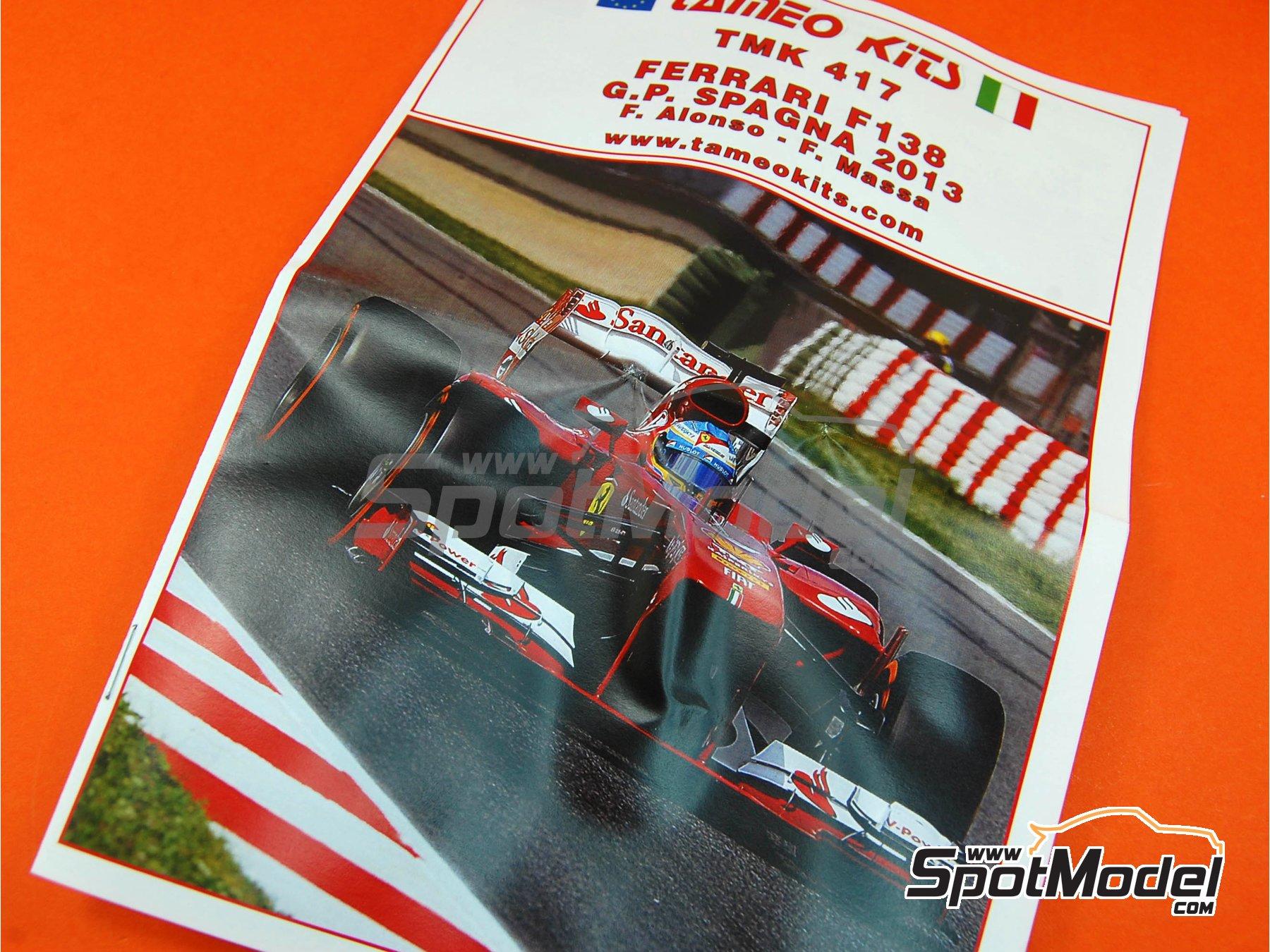 Image 1: Ferrari F138 F2013 Banco Santander - Gran Premio de Fórmula 1 de España 2013 | Maqueta de coche en escala1/43 fabricado por Tameo Kits (ref.TMK417)