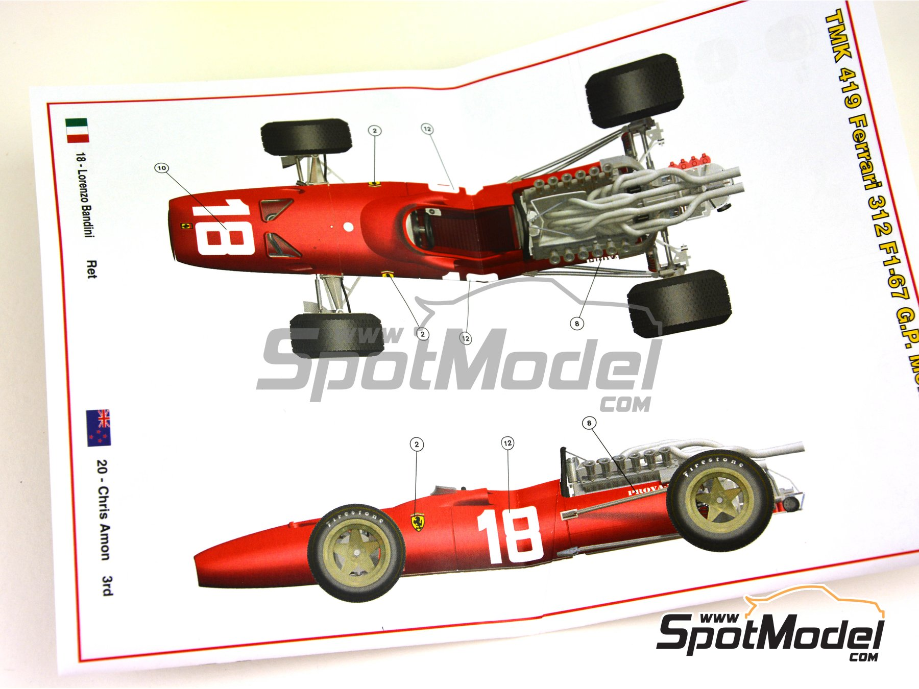 Image 11: Ferrari F1-67 - Monaco Grand Prix 1967 | Model car kit in 1/43 scale manufactured by Tameo Kits (ref. TMK419)