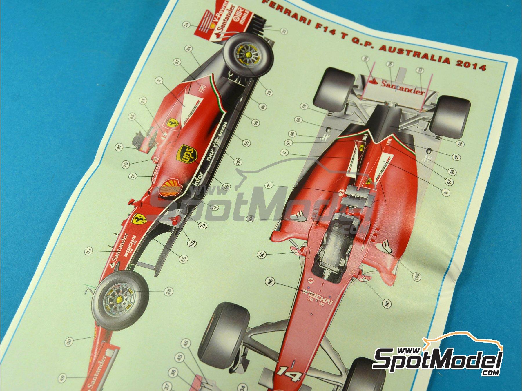 Image 4: Ferrari F14 T Banco Santander - Australian Formula 1 Grand Prix 2014 | Model car kit in 1/43 scale manufactured by Tameo Kits (ref.TMK421)