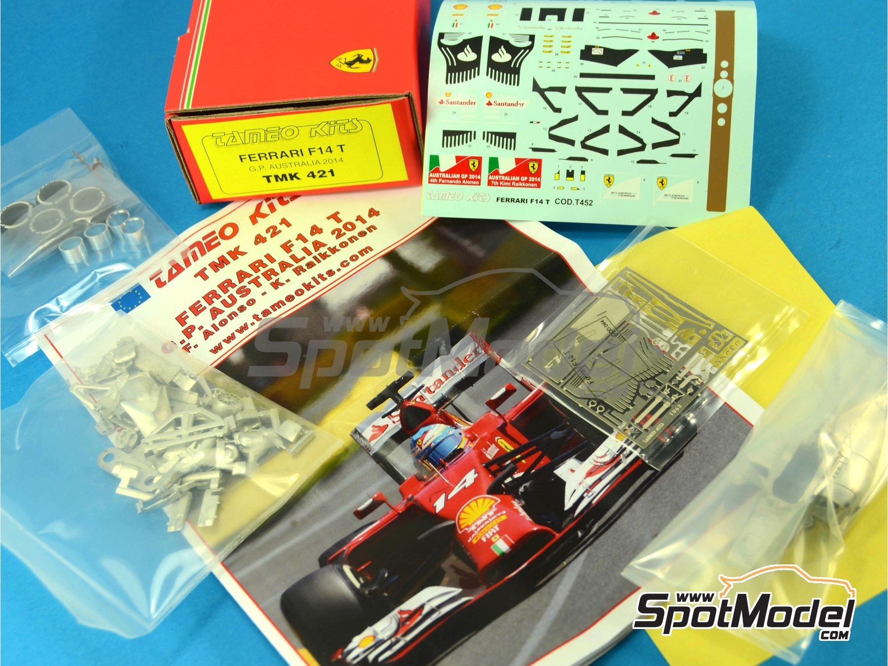 Image 10: Ferrari F14 T Banco Santander - Australian Formula 1 Grand Prix 2014 | Model car kit in 1/43 scale manufactured by Tameo Kits (ref.TMK421)
