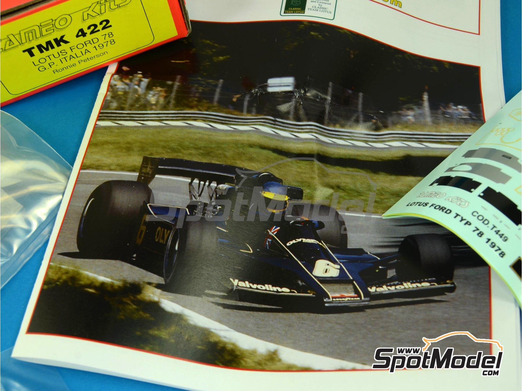 Image 9: Lotus Ford Type 78 John Player Special - Italian Formula 1 Grand Prix 1978 | Model car kit in 1/43 scale manufactured by Tameo Kits (ref.TMK422)