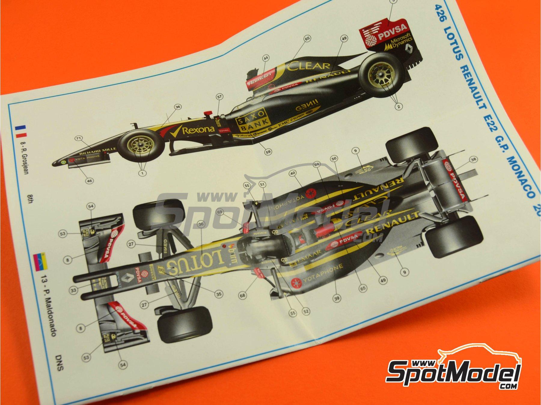 Image 1: Lotus Renault E22 Rexona - Monaco Formula 1 Grand Prix 2014 | Model car kit in 1/43 scale manufactured by Tameo Kits (ref.TMK426)