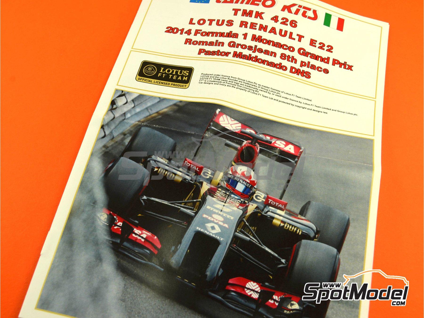 Image 6: Lotus Renault E22 Rexona - Monaco Formula 1 Grand Prix 2014 | Model car kit in 1/43 scale manufactured by Tameo Kits (ref.TMK426)