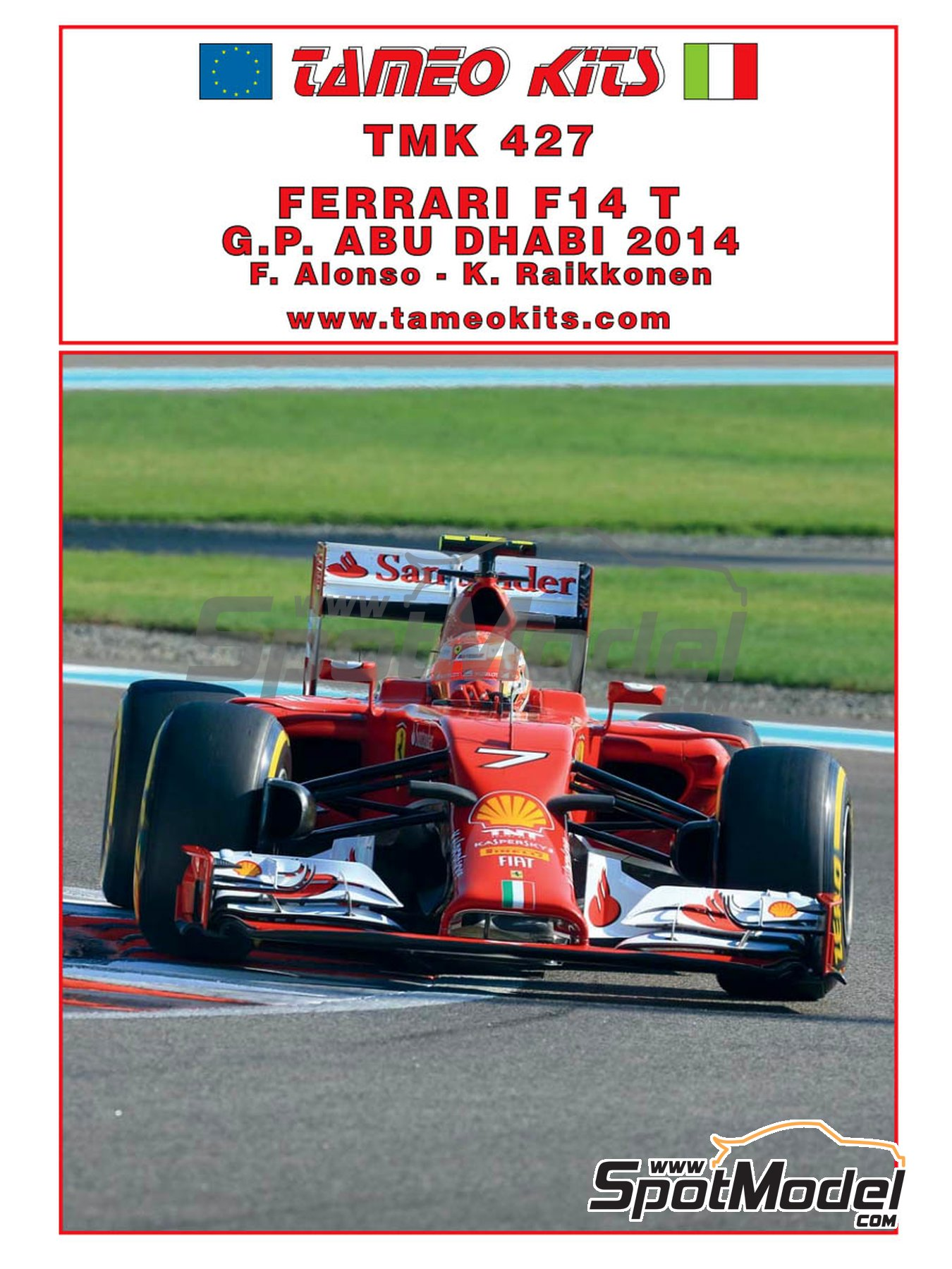 Ferrari F14 Banco Santander - Abu Dhabi Grand Prix 2014 | Model car kit in 1/43 scale manufactured by Tameo Kits (ref.TMK427) image