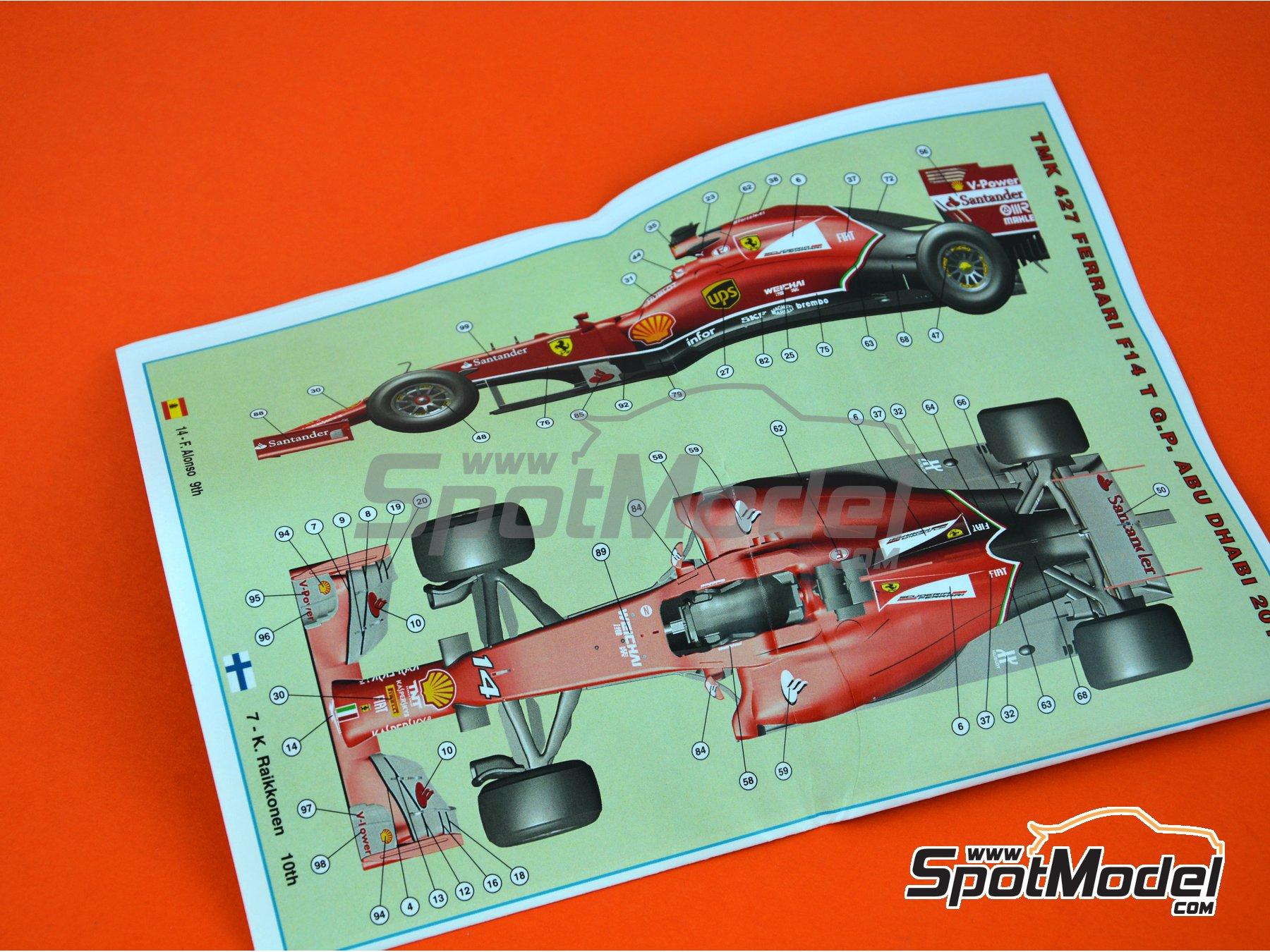 Image 11: Ferrari F14 Banco Santander - Abu Dhabi Grand Prix 2014 | Model car kit in 1/43 scale manufactured by Tameo Kits (ref.TMK427)