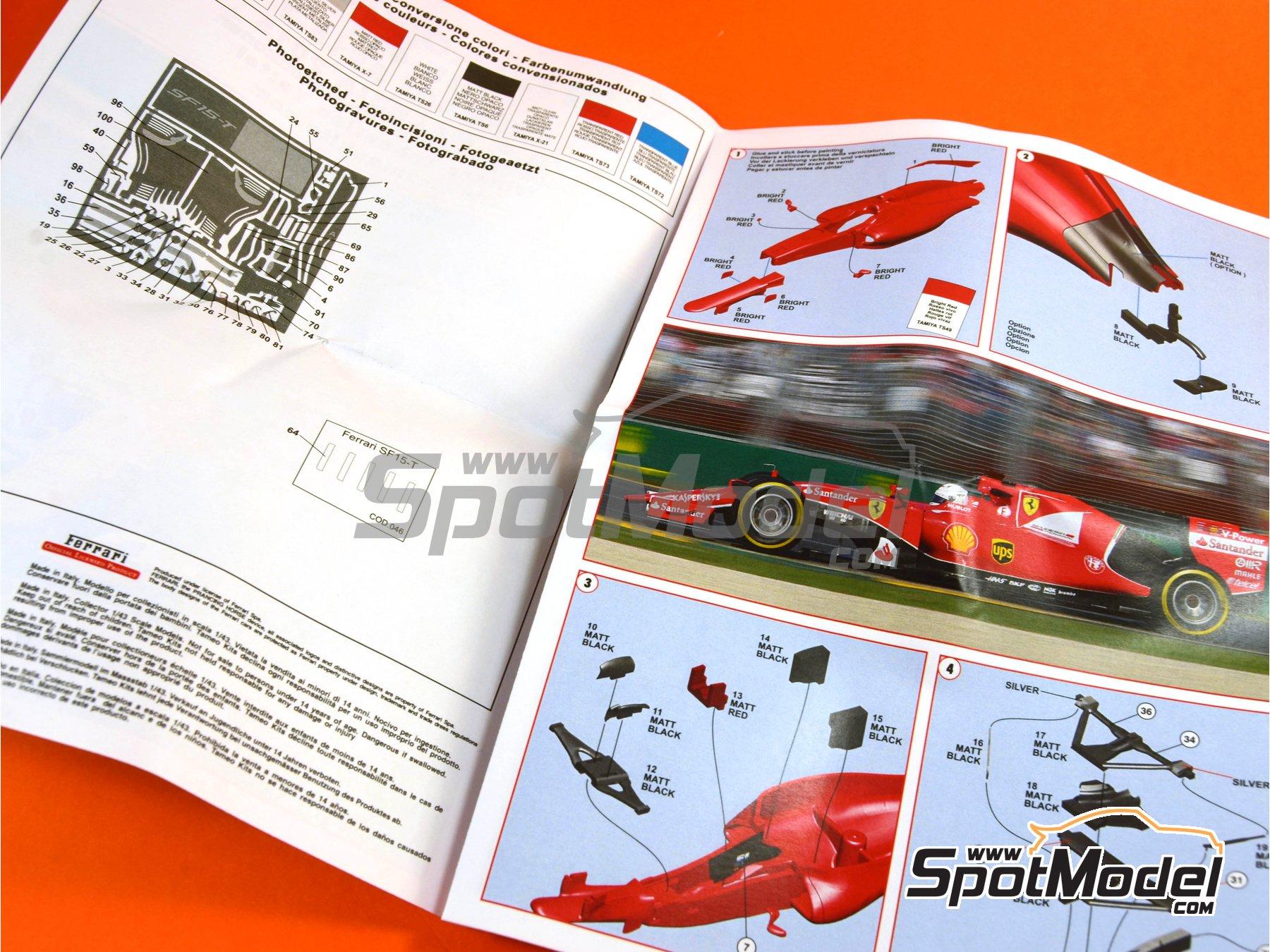 Image 9: Ferrari SF15-T Shell UPS - Gran Premio de Fórmula 1 de Malasia 2015   Maqueta de coche en escala1/43 fabricado por Tameo Kits (ref.TMK429)