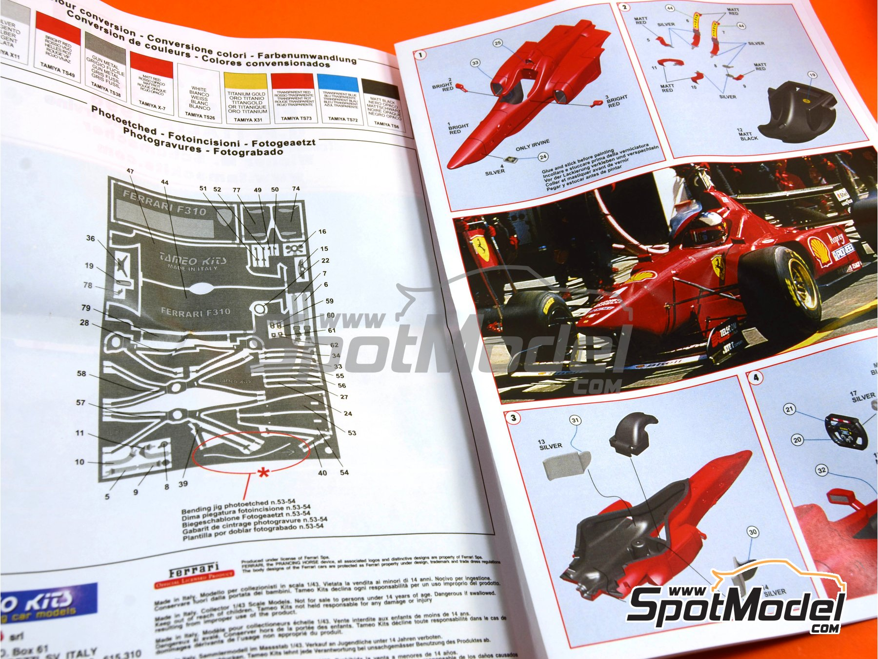 Image 9: Ferrari F310 - Italian Grand Prix 1996 | Model car kit in 1/43 scale manufactured by Tameo Kits (ref. TMK431)