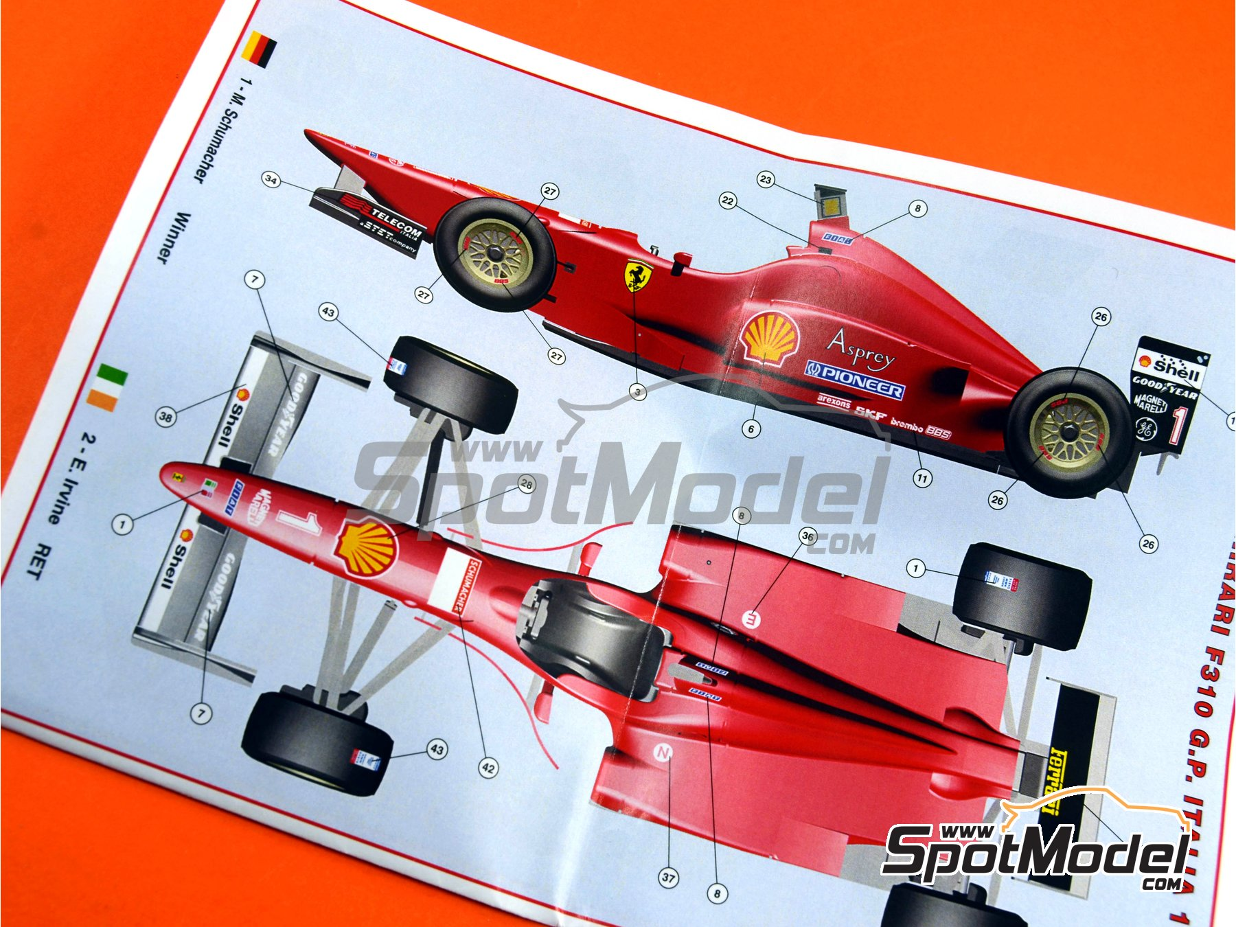 Image 11: Ferrari F310 - Italian Grand Prix 1996 | Model car kit in 1/43 scale manufactured by Tameo Kits (ref. TMK431)