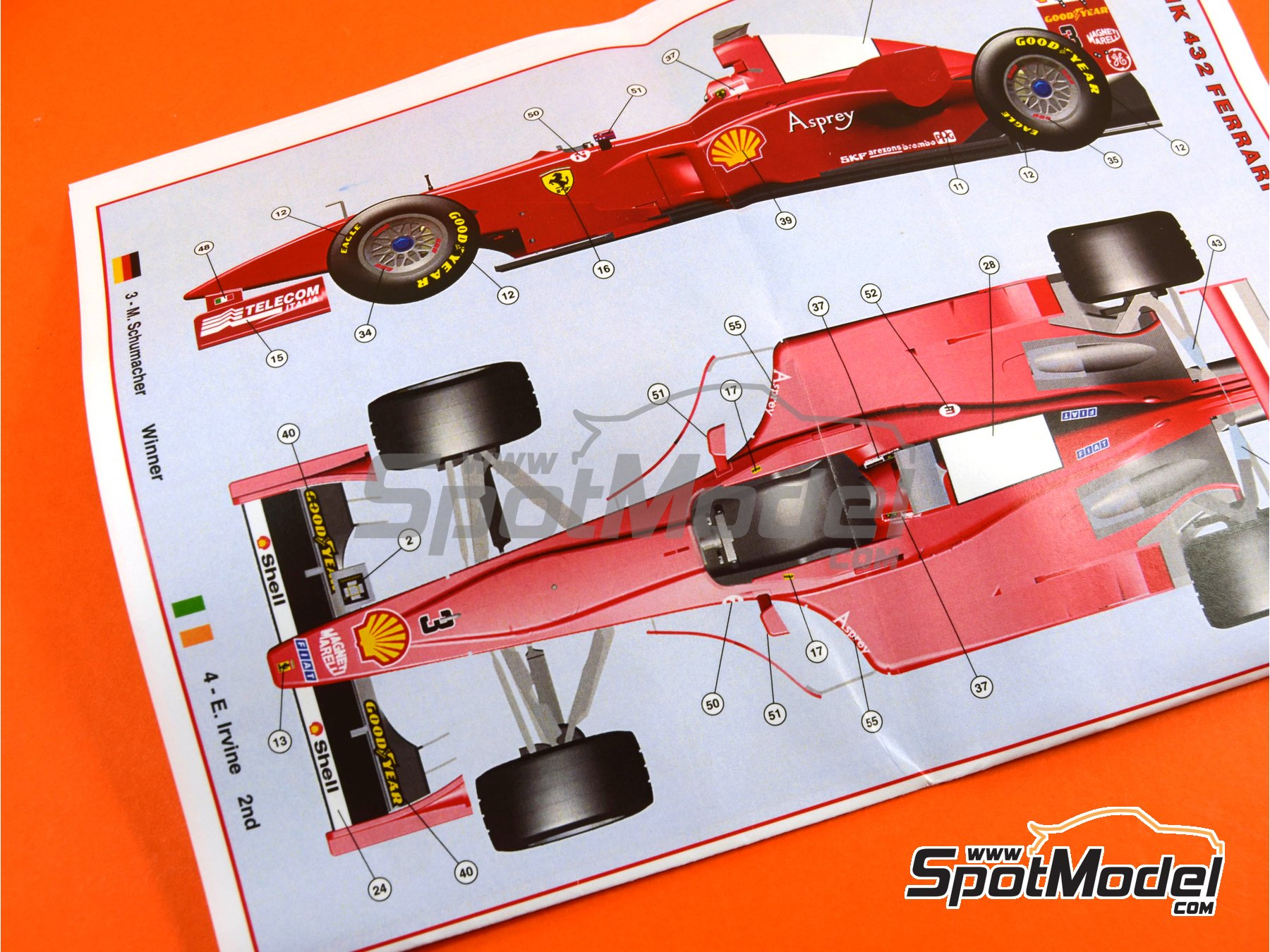 Image 10: Ferrari F300 Marlboro - Italian Formula 1 Grand Prix 1998 | Model car kit in 1/43 scale manufactured by Tameo Kits (ref. TMK432)