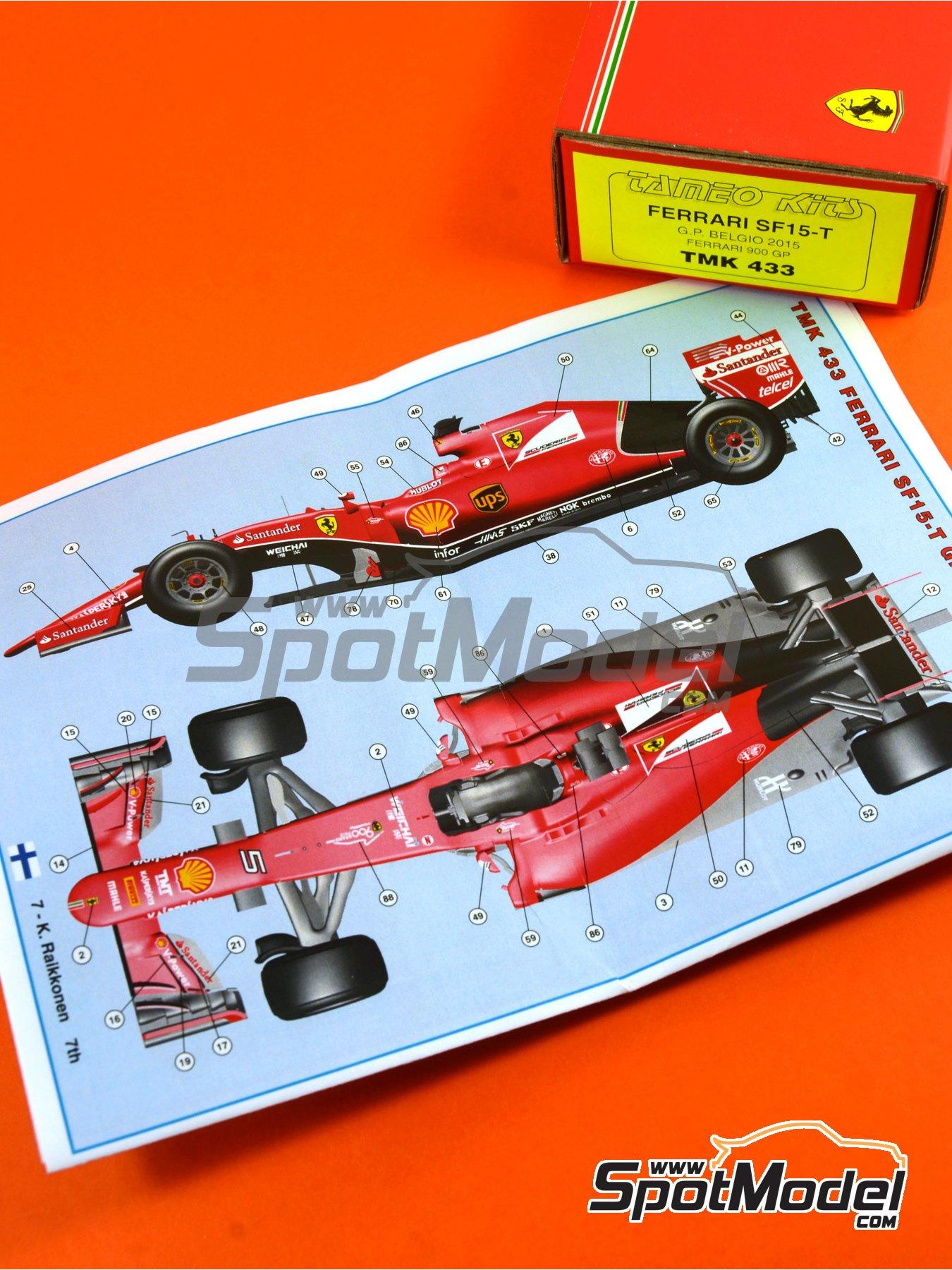 Ferrari SF15-T Banco Santander - Belgian Formula 1 Grand Prix 2015 | Model car kit in 1/43 scale manufactured by Tameo Kits (ref.TMK433) image