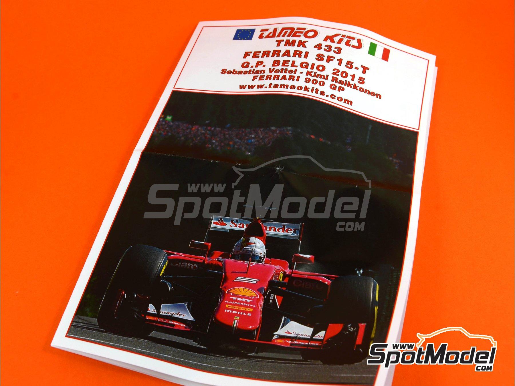 Image 7: Ferrari SF15-T Banco Santander - Belgian Formula 1 Grand Prix 2015 | Model car kit in 1/43 scale manufactured by Tameo Kits (ref.TMK433)
