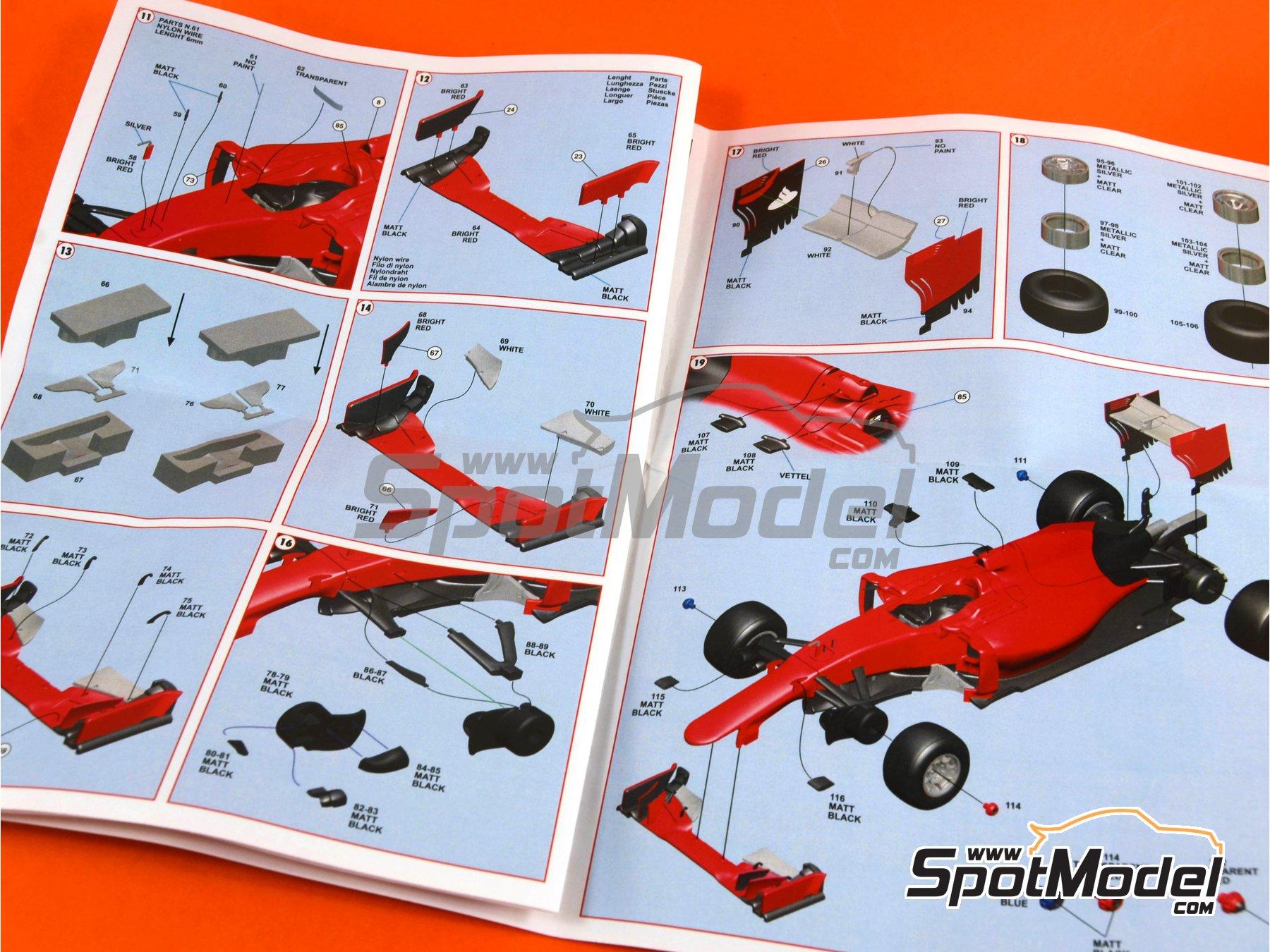 Image 8: Ferrari SF15-T Banco Santander - Belgian Formula 1 Grand Prix 2015 | Model car kit in 1/43 scale manufactured by Tameo Kits (ref.TMK433)