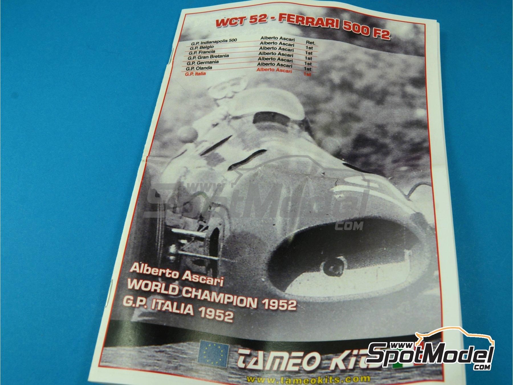 Image 2: Ferrari 500 F2 - Gran Premio de Fórmula 1 de Italia 1952 | Maqueta de coche en escala1/43 fabricado por Tameo Kits (ref.WCT052)