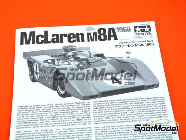 Image 9: McLaren M8A Gulf - Can-Am Canadian-American Challenge Cup 1968 | Model car kit in 1/18 scale manufactured by Tamiya (ref.TAM10008)