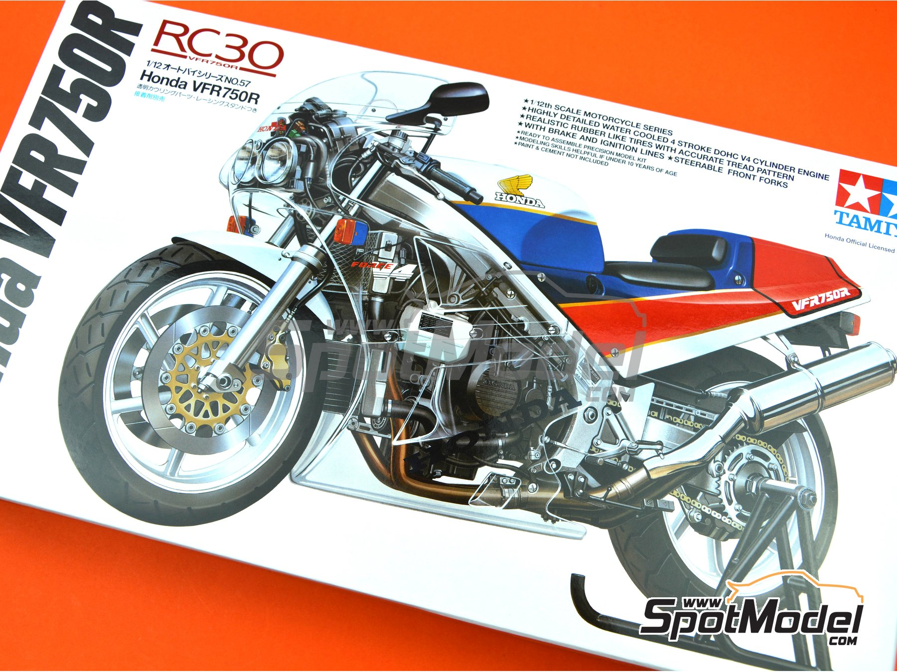 Image 7: Honda VFR750R RC30 | Model bike kit in 1/12 scale manufactured by Tamiya (ref. TAM14057, also 14057)
