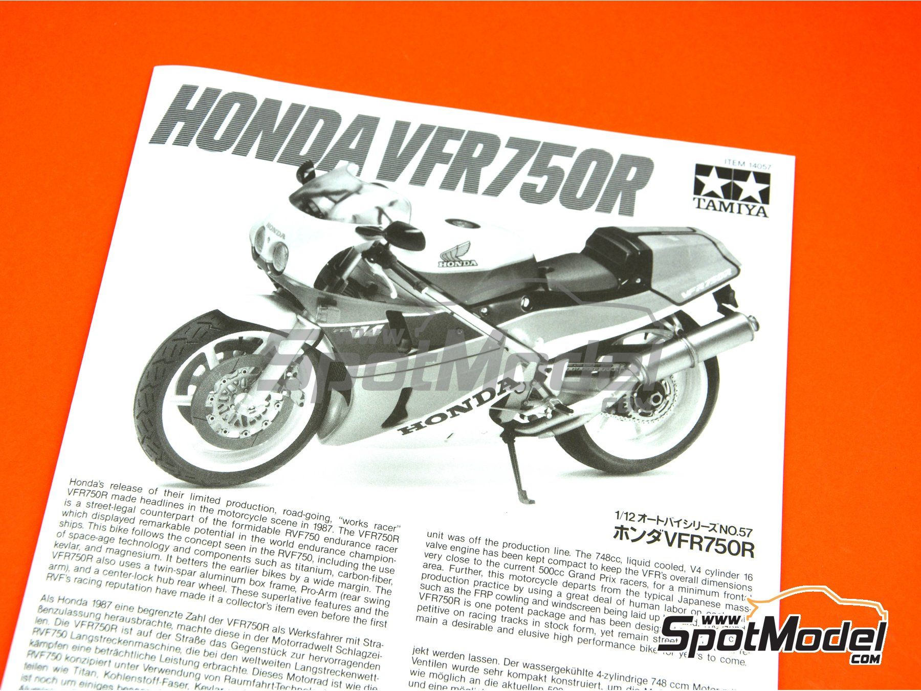 Image 8: Honda VFR750R RC30 | Model bike kit in 1/12 scale manufactured by Tamiya (ref. TAM14057)