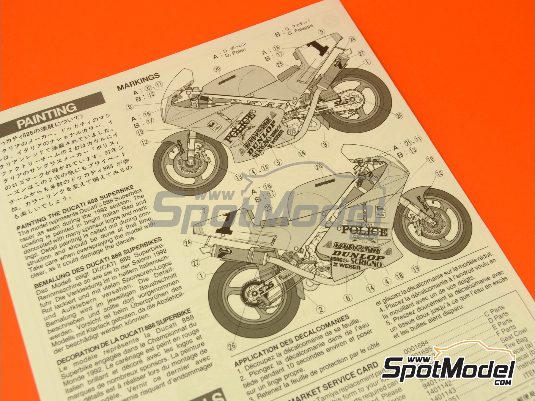 Image 9: Ducati 888 Team Police - Superbike World Championship 1992 | Model bike kit in 1/12 scale manufactured by Tamiya (ref.TAM14063, also 14063)