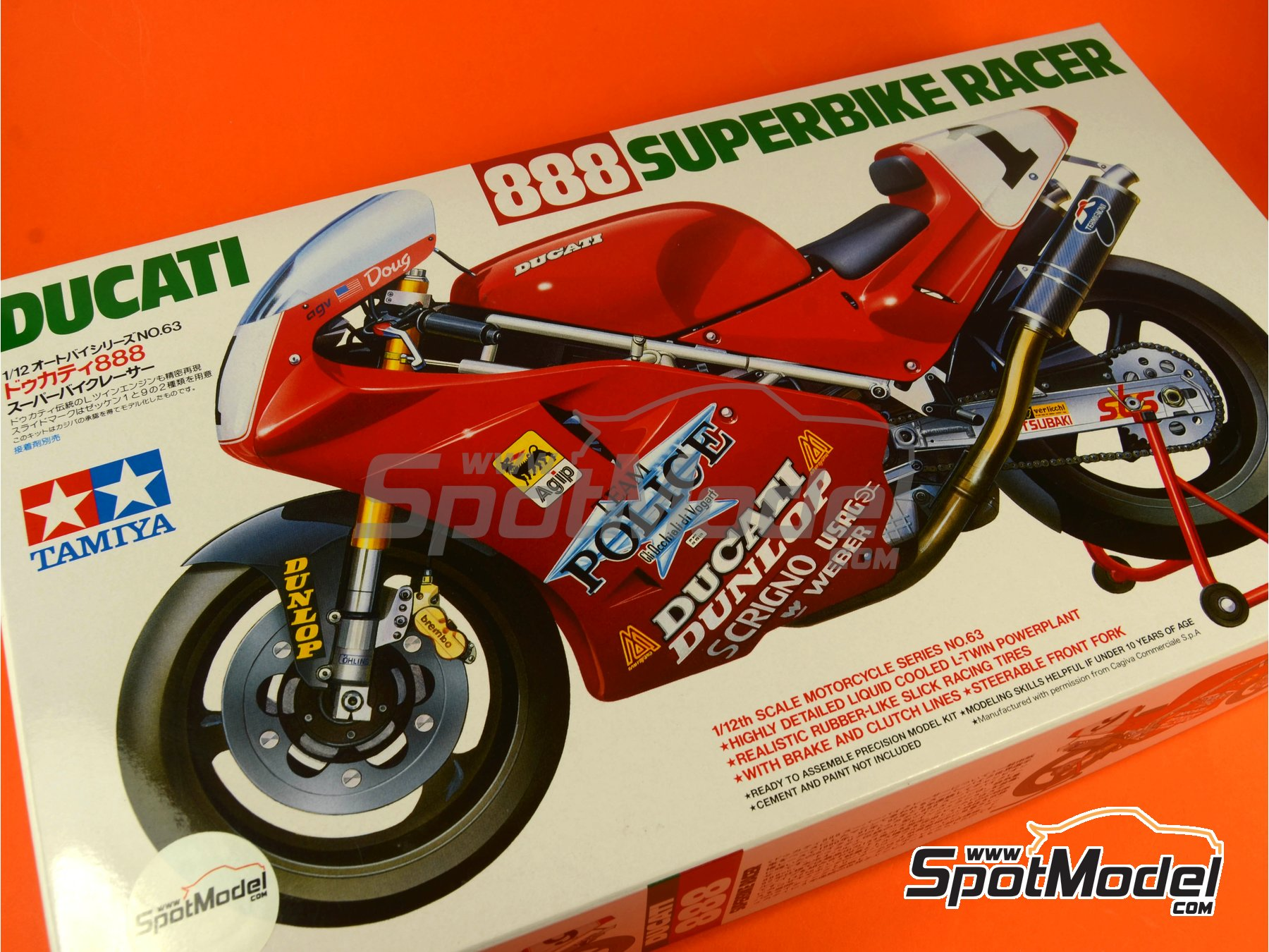 Image 11: Ducati 888 Team Police - Superbike World Championship 1992 | Model bike kit in 1/12 scale manufactured by Tamiya (ref.TAM14063, also 14063)