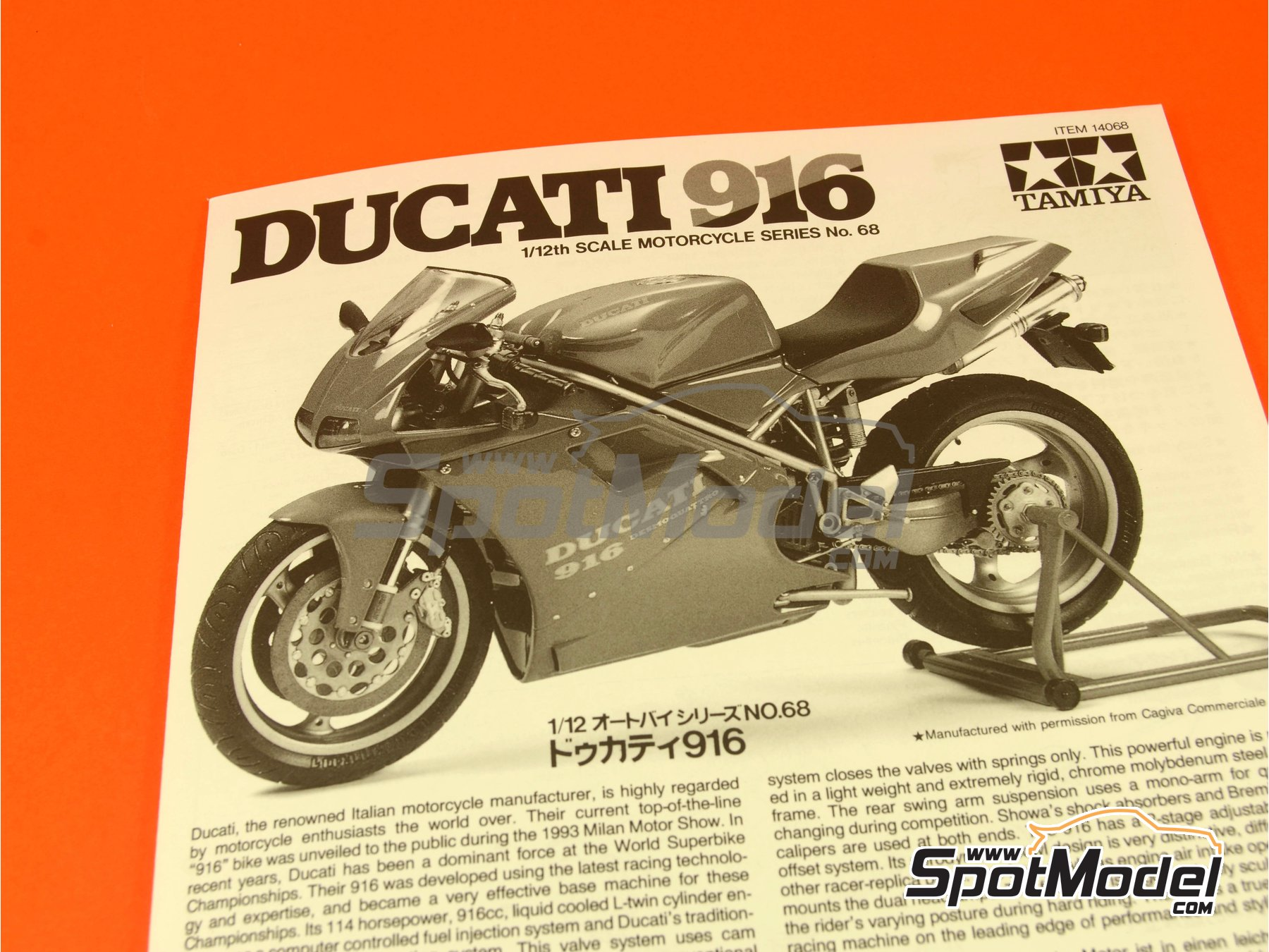 Image 1: Ducati 916 | Model bike kit in 1/12 scale manufactured by Tamiya (ref.TAM14068, also 14068)