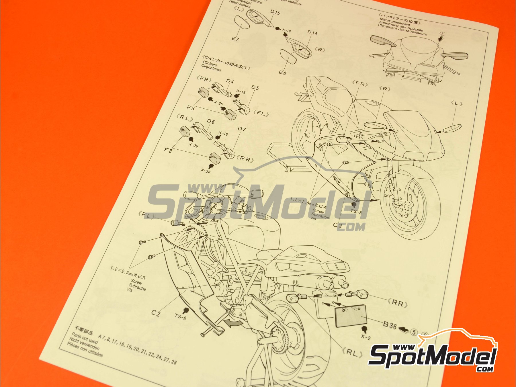 Image 9: Ducati 916 | Model bike kit in 1/12 scale manufactured by Tamiya (ref.TAM14068, also 14068)
