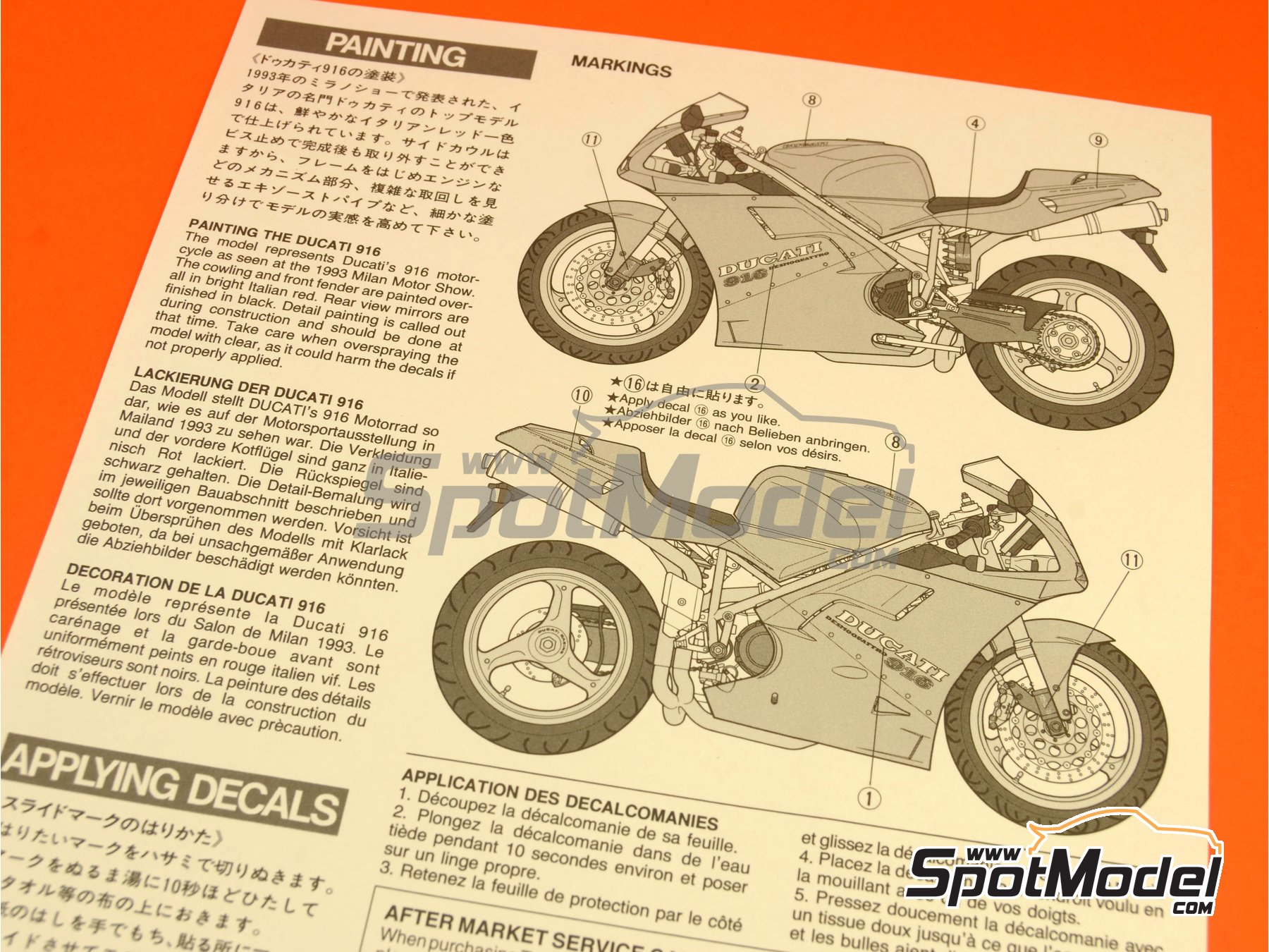 Image 10: Ducati 916 | Model bike kit in 1/12 scale manufactured by Tamiya (ref.TAM14068, also 14068)