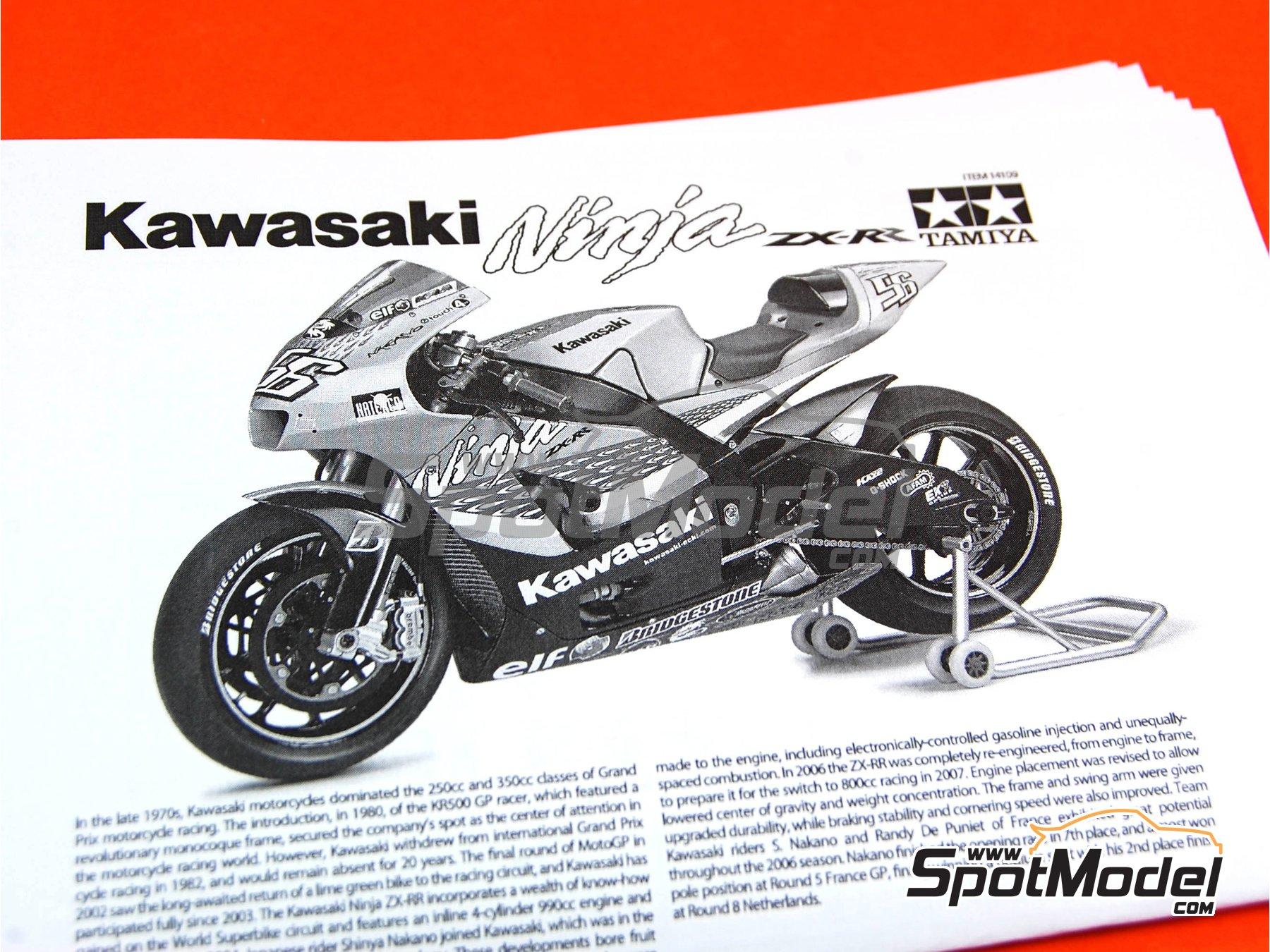 Image 2: Kawasaki Ninja ZX-RR - Campeonato del Mundo de Motociclismo 2006   Maqueta de moto en escala1/12 fabricado por Tamiya (ref.TAM14109, tambien 14109)