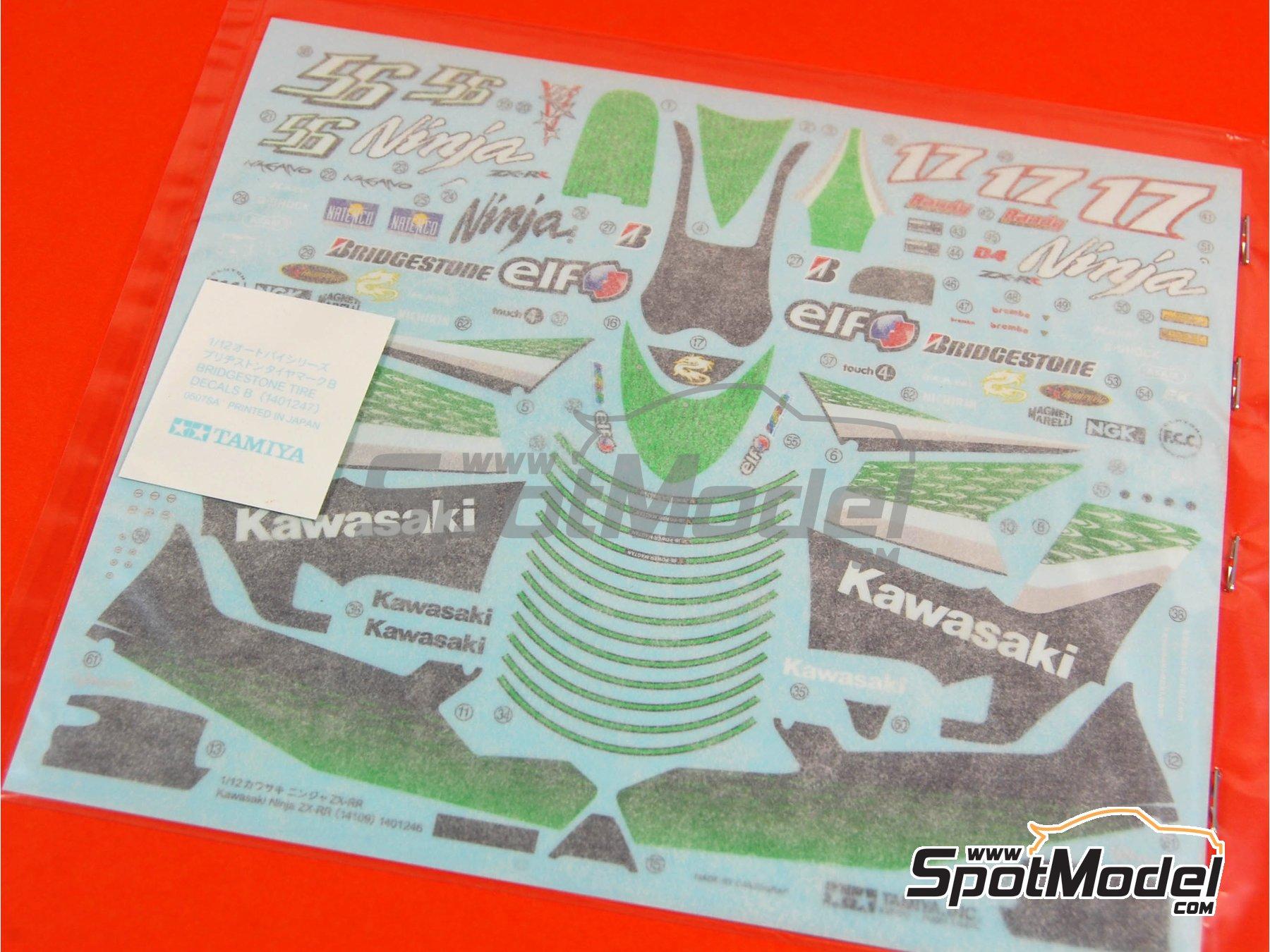 Image 11: Kawasaki Ninja ZX-RR - Campeonato del Mundo de Motociclismo 2006   Maqueta de moto en escala1/12 fabricado por Tamiya (ref.TAM14109, tambien 14109)