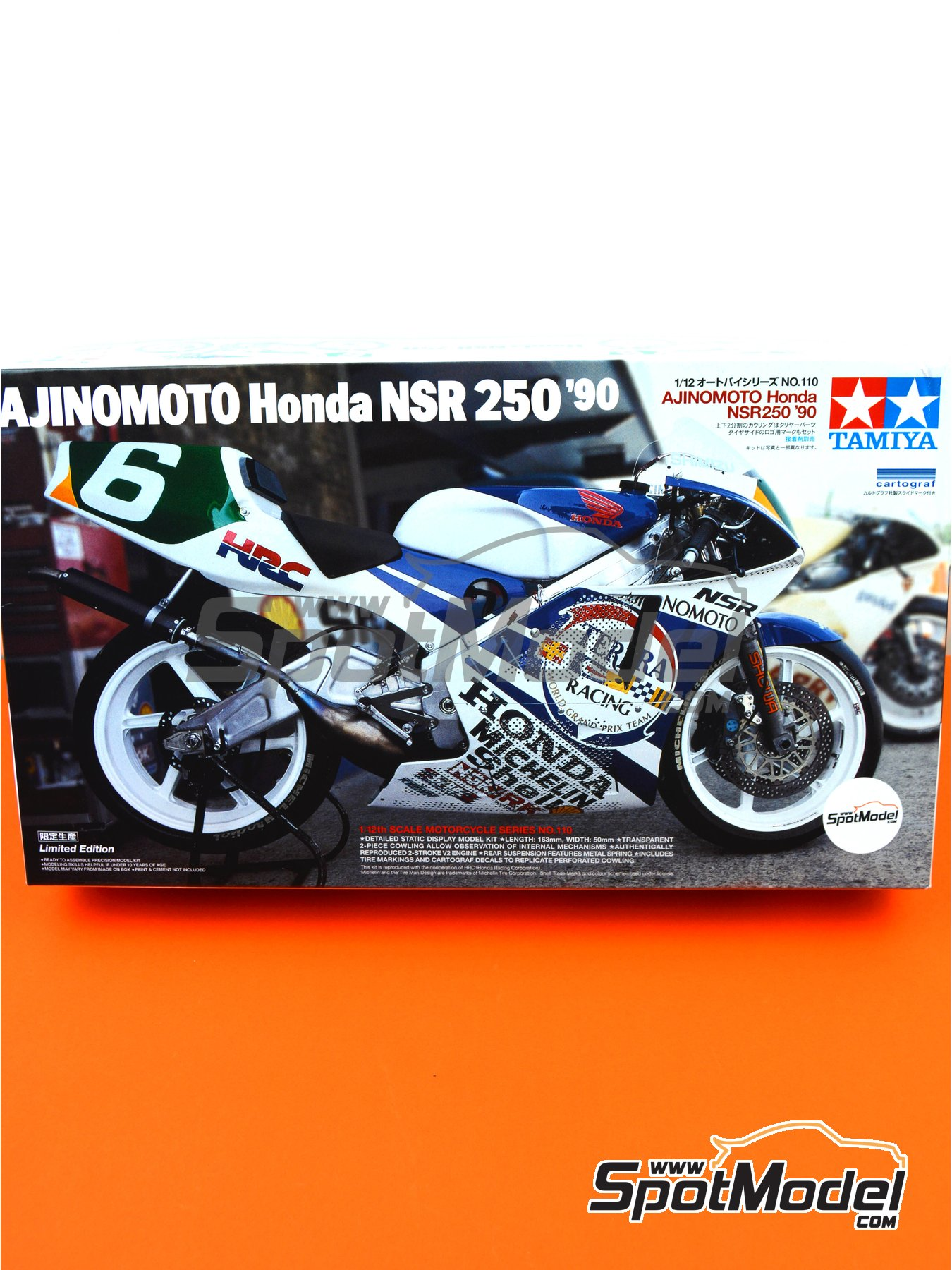 Honda NSR250 Ajinomoto - World Road Race 1990 | Model bike kit in 1/12 scale manufactured by Tamiya (ref. TAM14110, also 14110) image