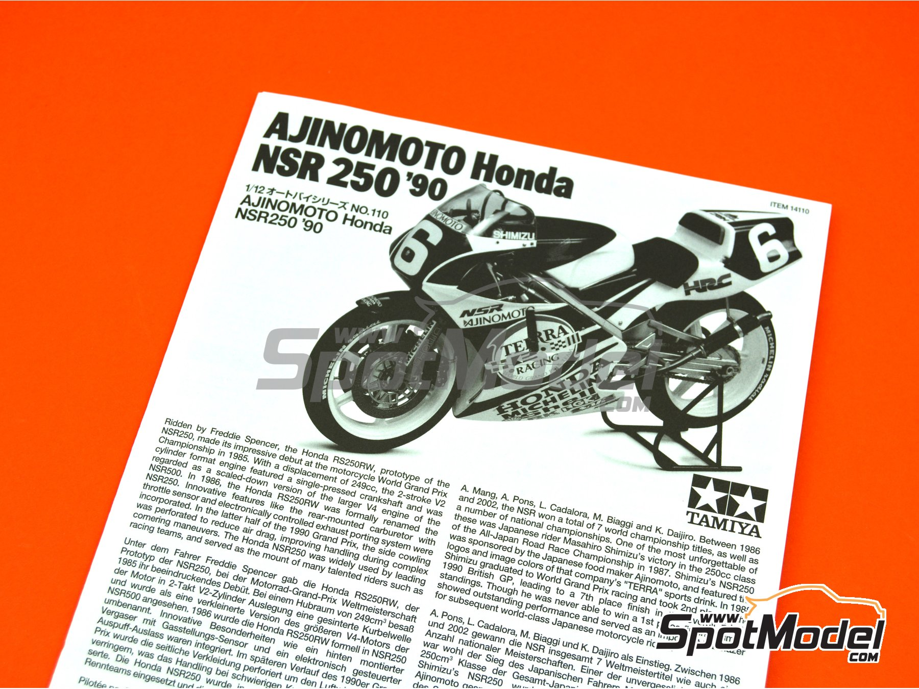 Image 6: Honda NSR250 Ajinomoto - World Road Race 1990 | Model bike kit in 1/12 scale manufactured by Tamiya (ref. TAM14110, also 14110)